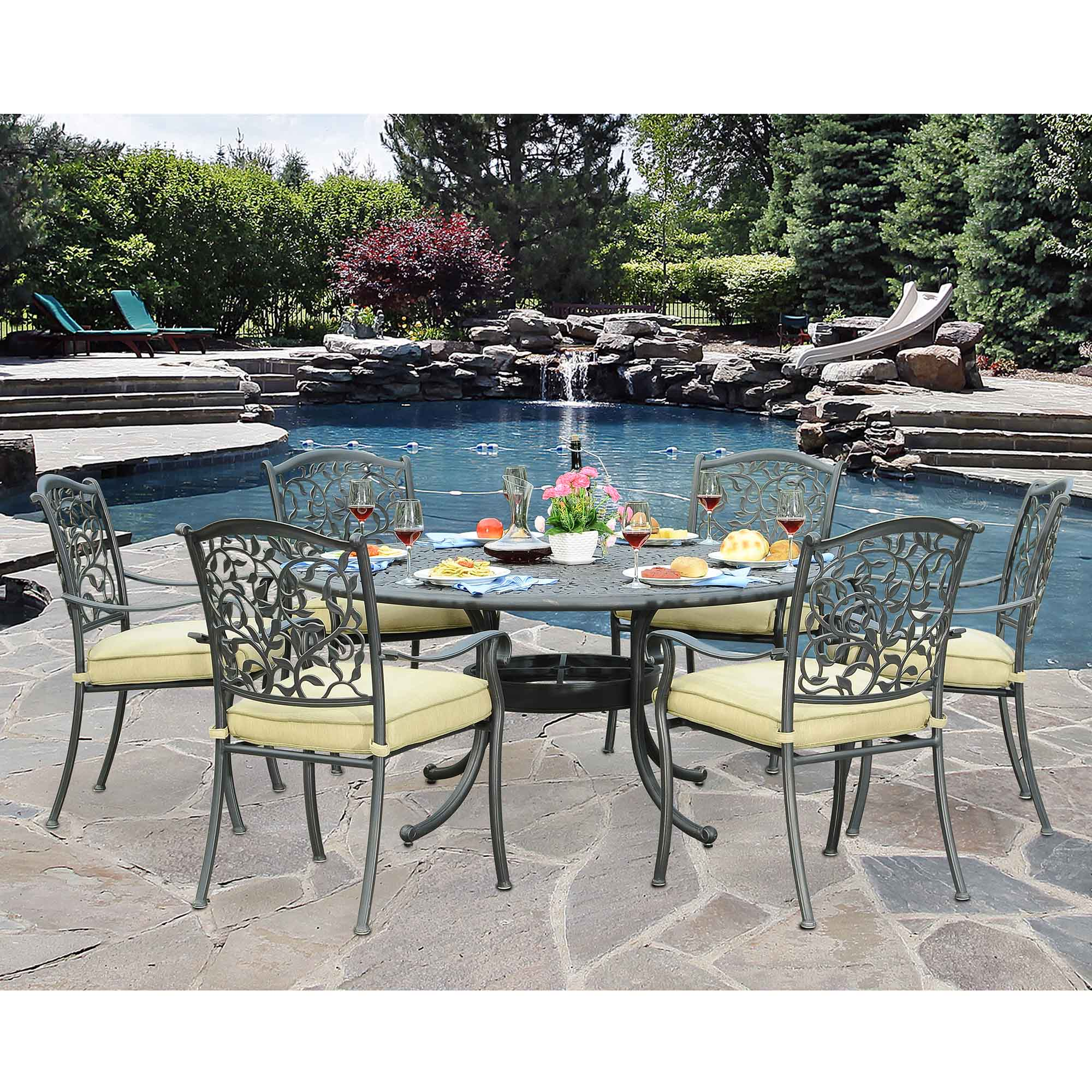 7 Piece Round Patio Dining Set Sunjoy Poppy 7pc Patio Dining Set With Round Table