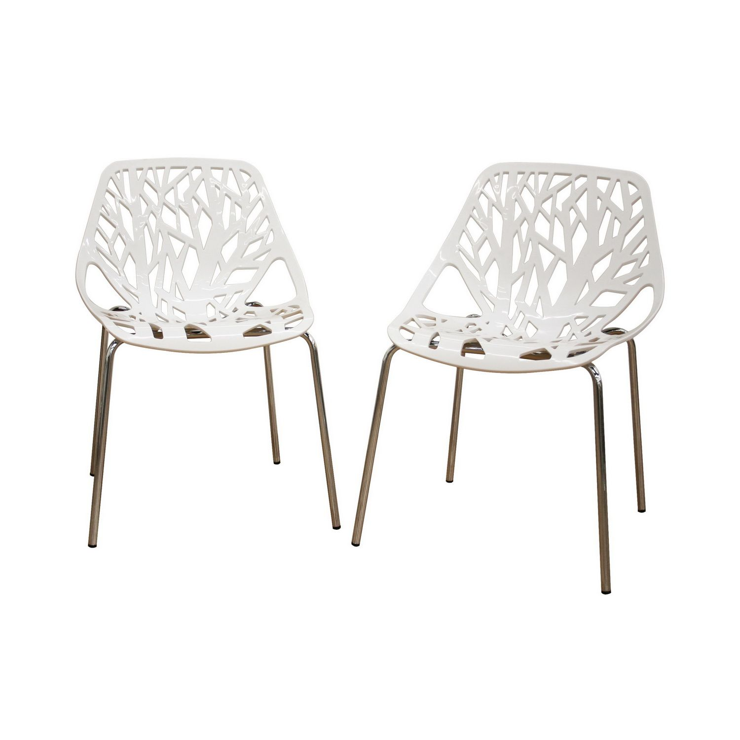 White Plastic Modern Chairs Baxton Studio Birch Sapling White Plastic Accent Dining