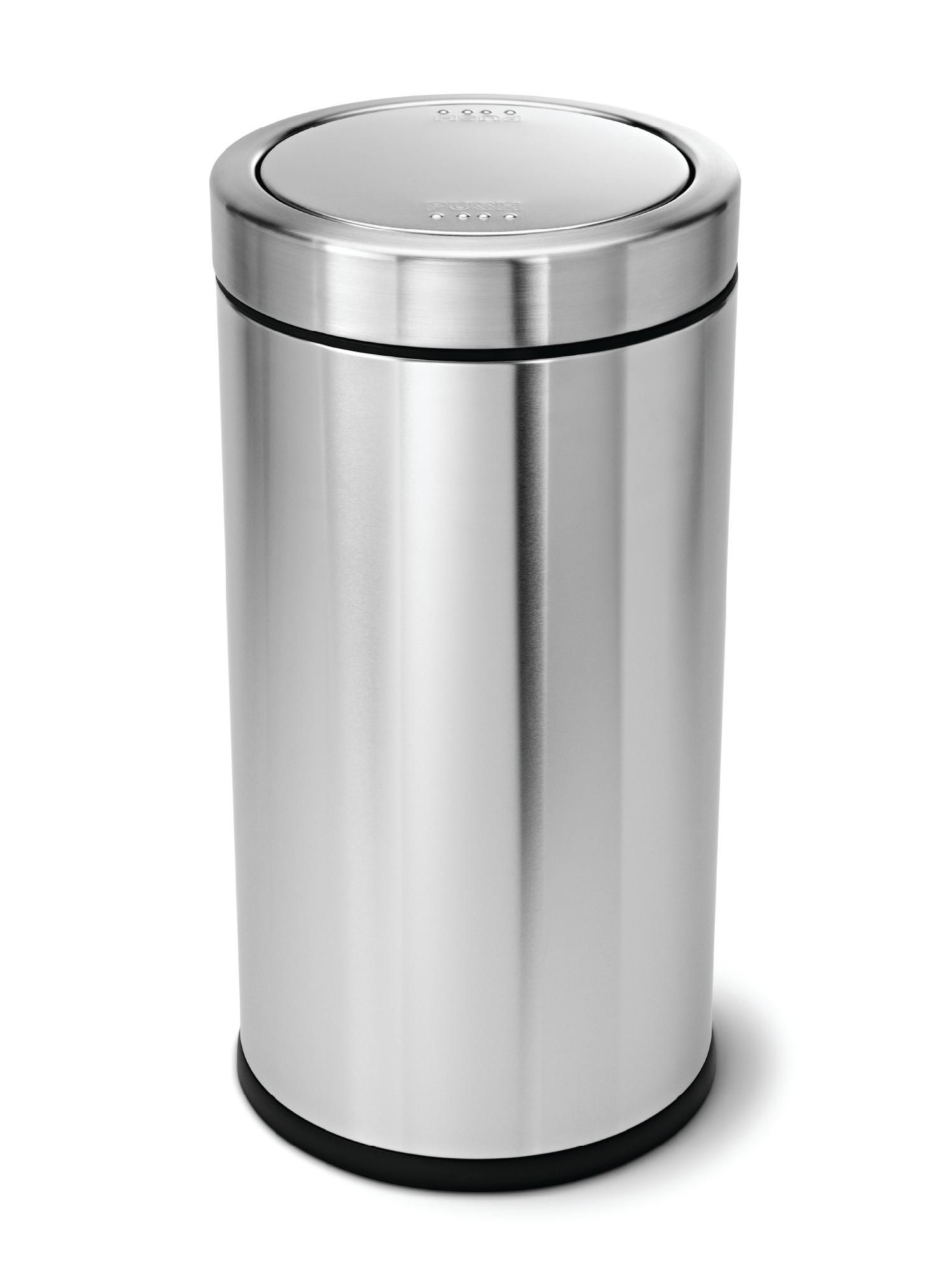 Silver Trash Cans Polder Grocery Bag Trash Can White Stainless Steel