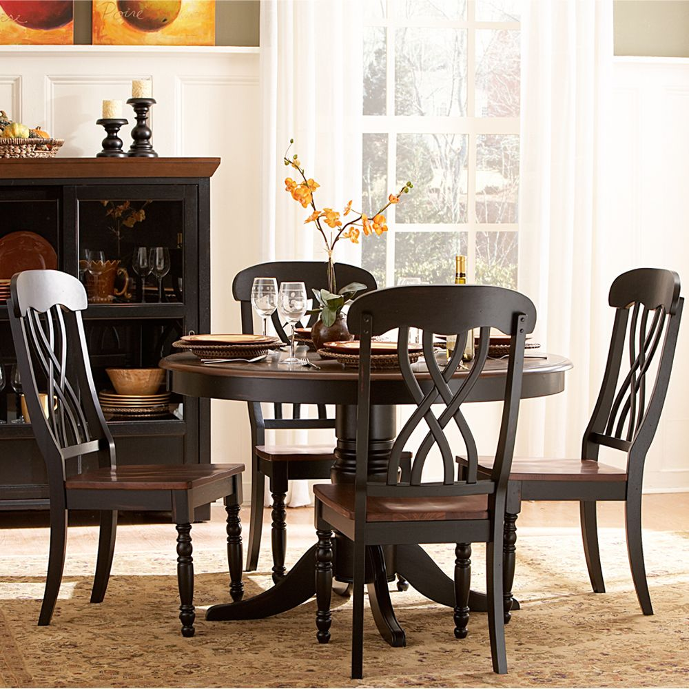p P round kitchen table sets Oxford Creek 5 Piece Casual Country Antique Black Round Dining Table Set Home Furniture Dining Kitchen Furniture Dining Sets Collections