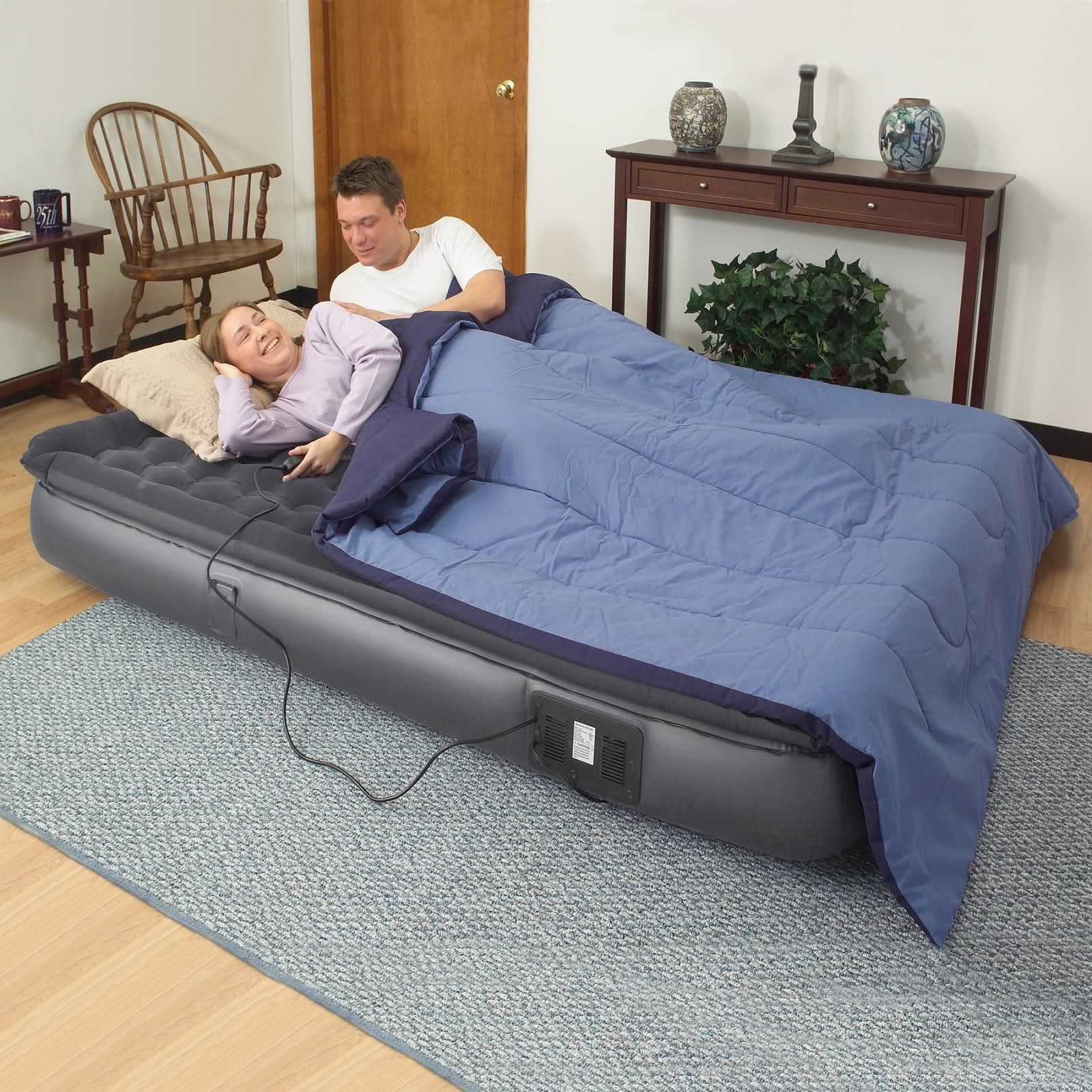 Easy Riser Queen Size Pillowtop Air Bed W Remote Grey