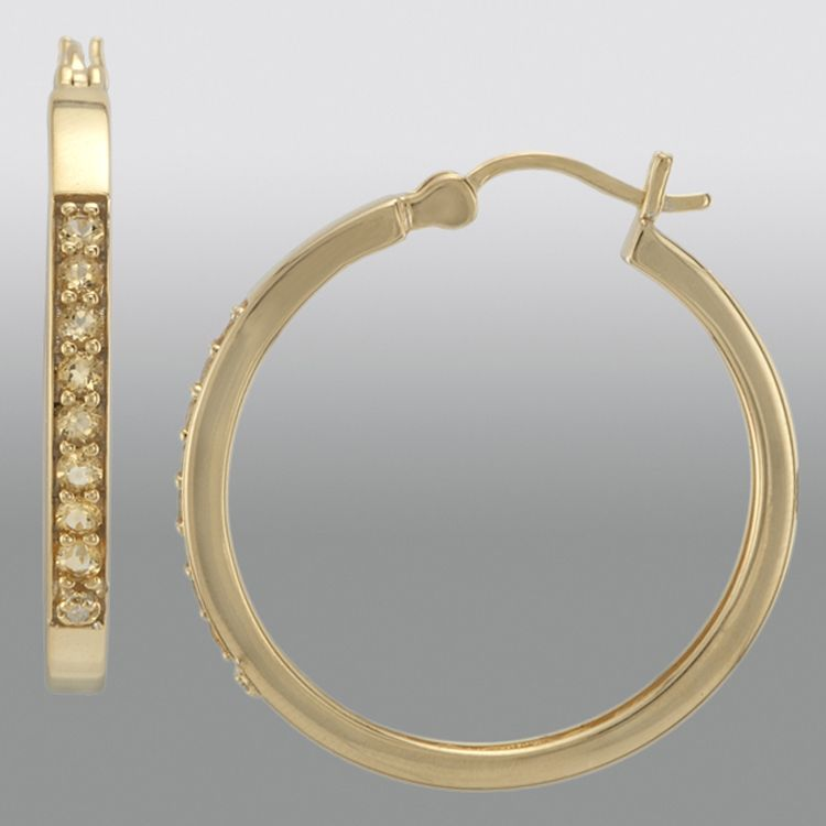 Citrine and Diamond Accent Hoop Earrings