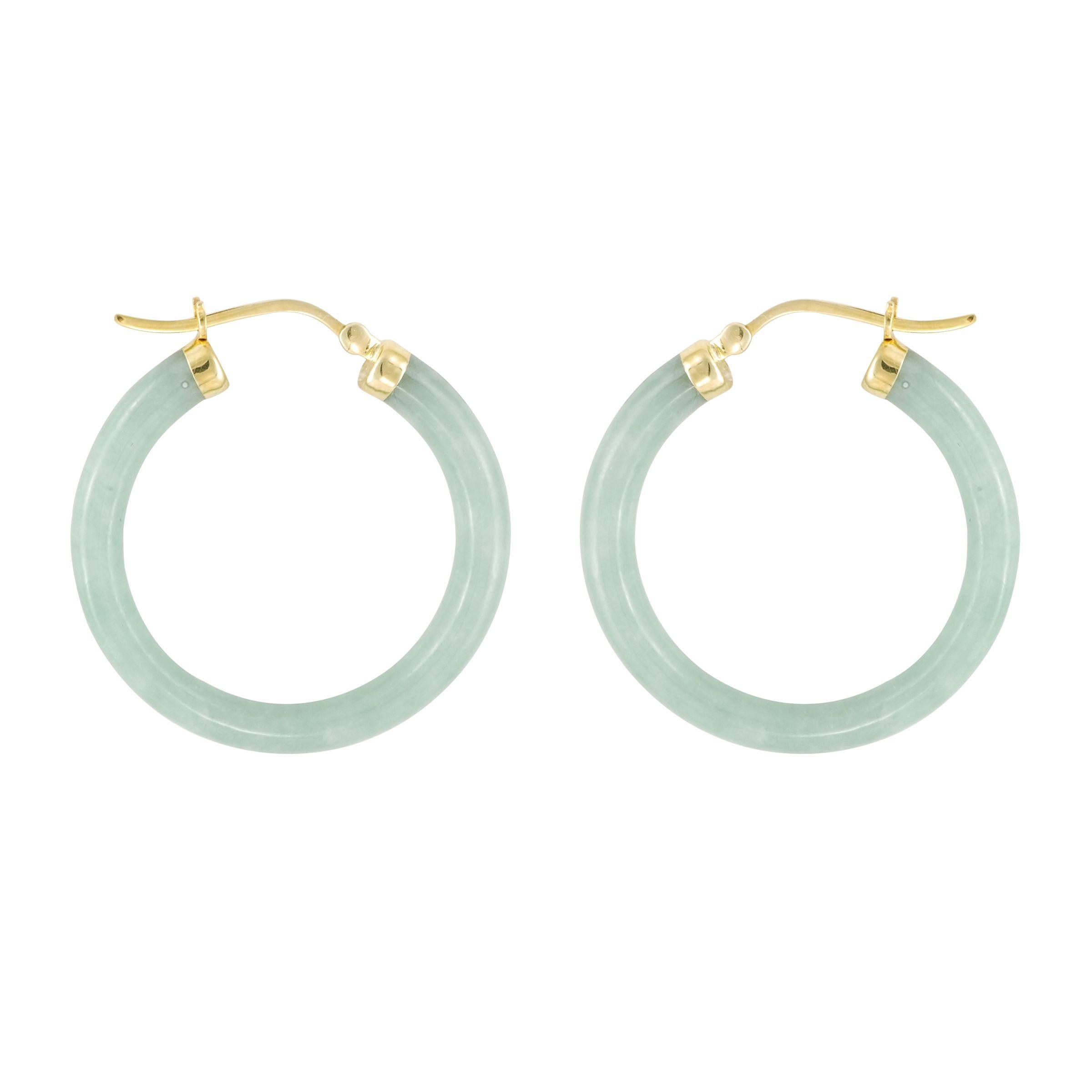 Jade Hoop Earrings. 10K Yellow Gold