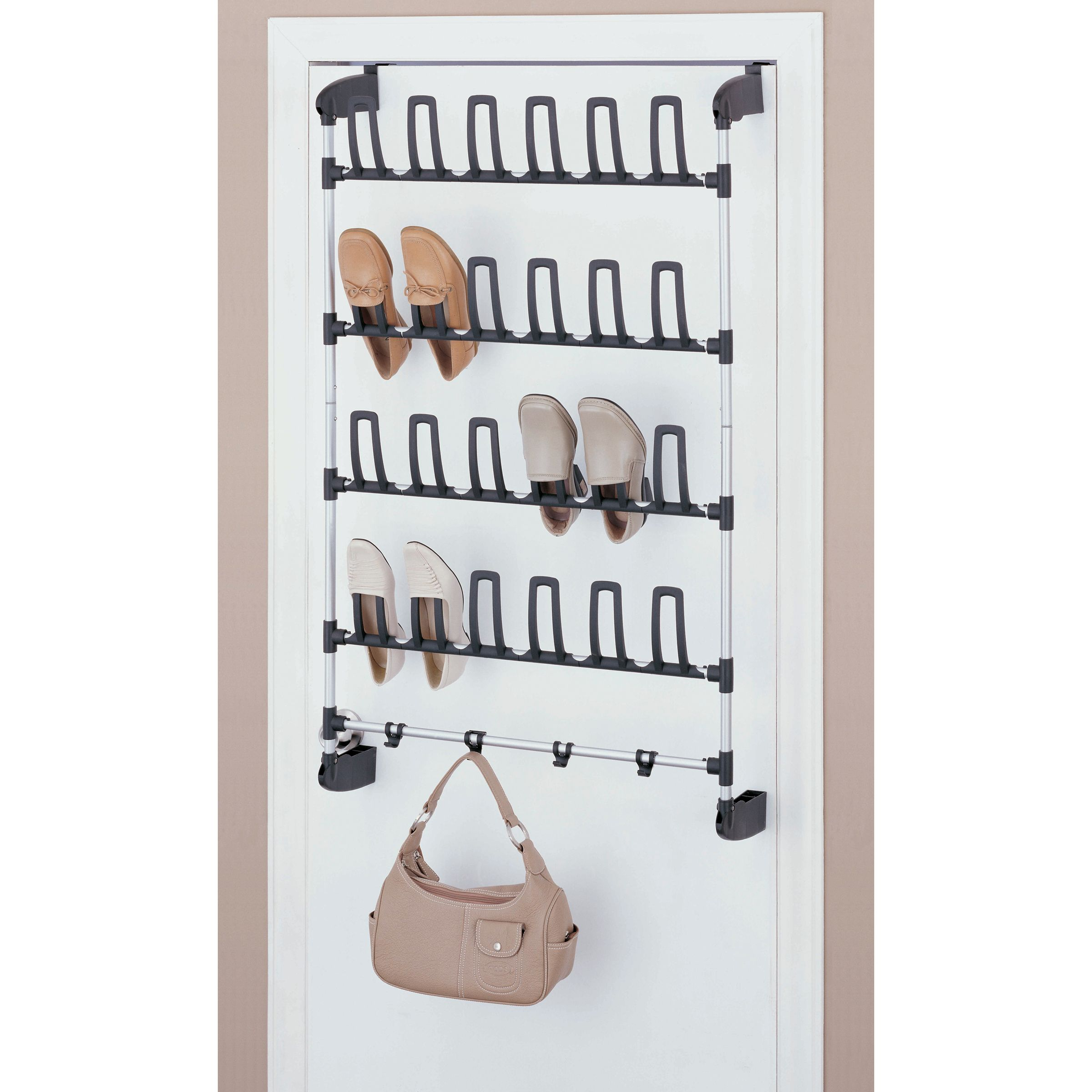 Organize It All 12 Pair Overdoor Shoe Rack With 4 Hooks