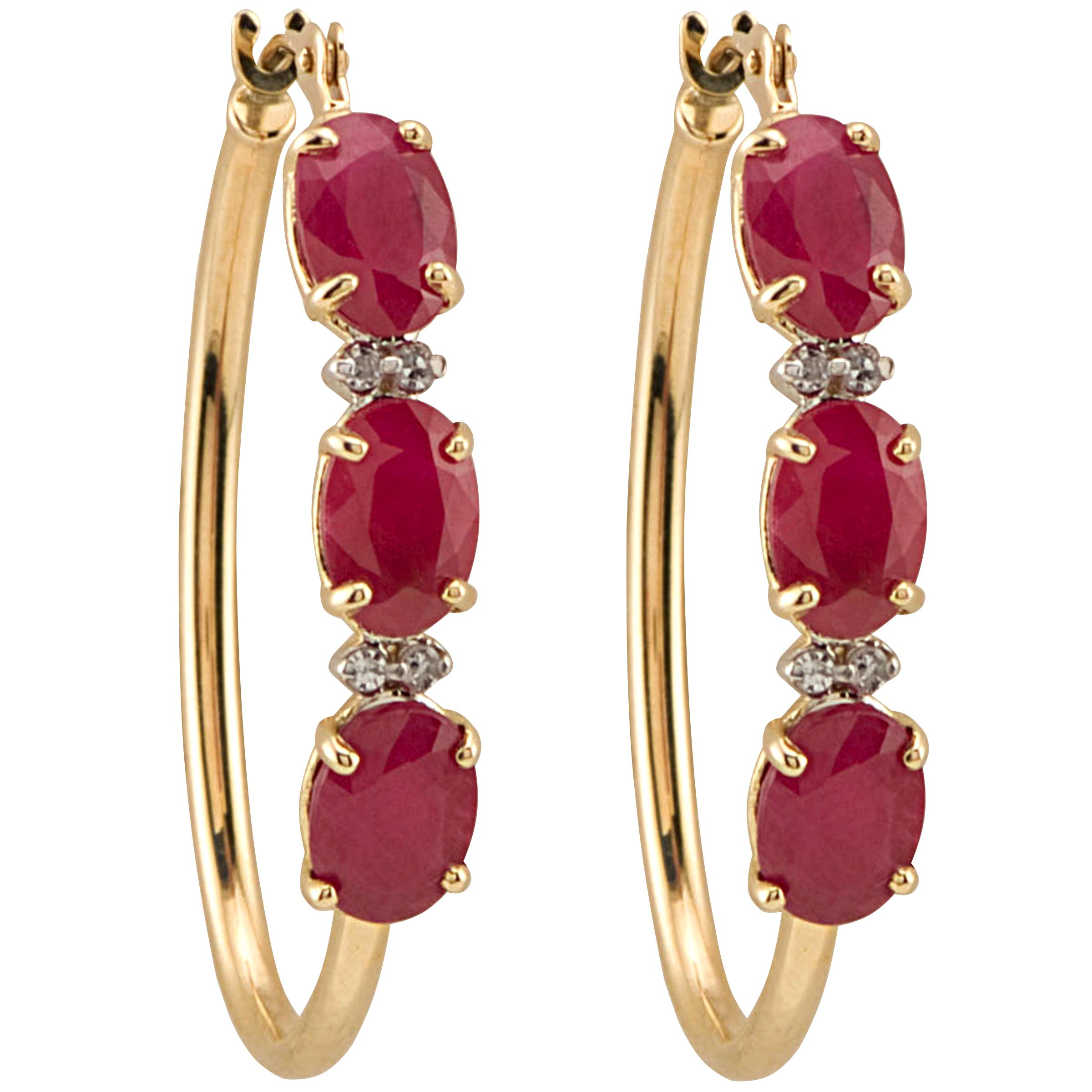 Ruby and Diamond Accent Hoop Earring. 10K Yellow Gold