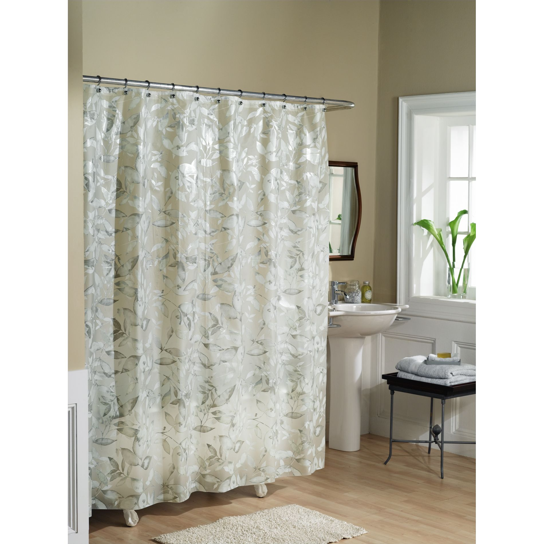 Bathroom Shower Curtains And Accessories Essential Home Shower Curtain Tea Leaves Vinyl Peva Home