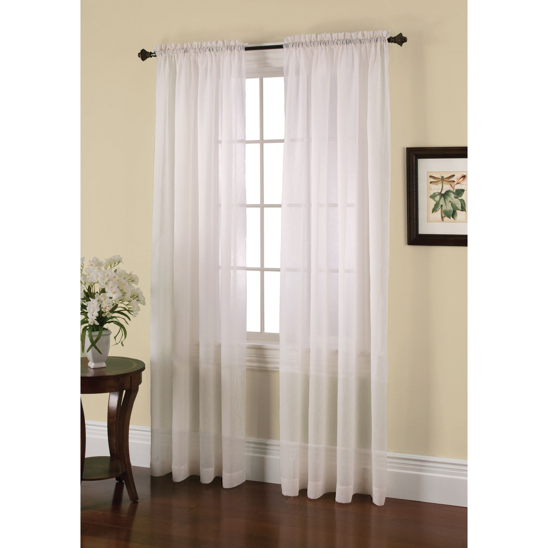 White Sheer Door Panel Curtains Jaclyn Smith Crushed Voile Curtain White Get Classic At
