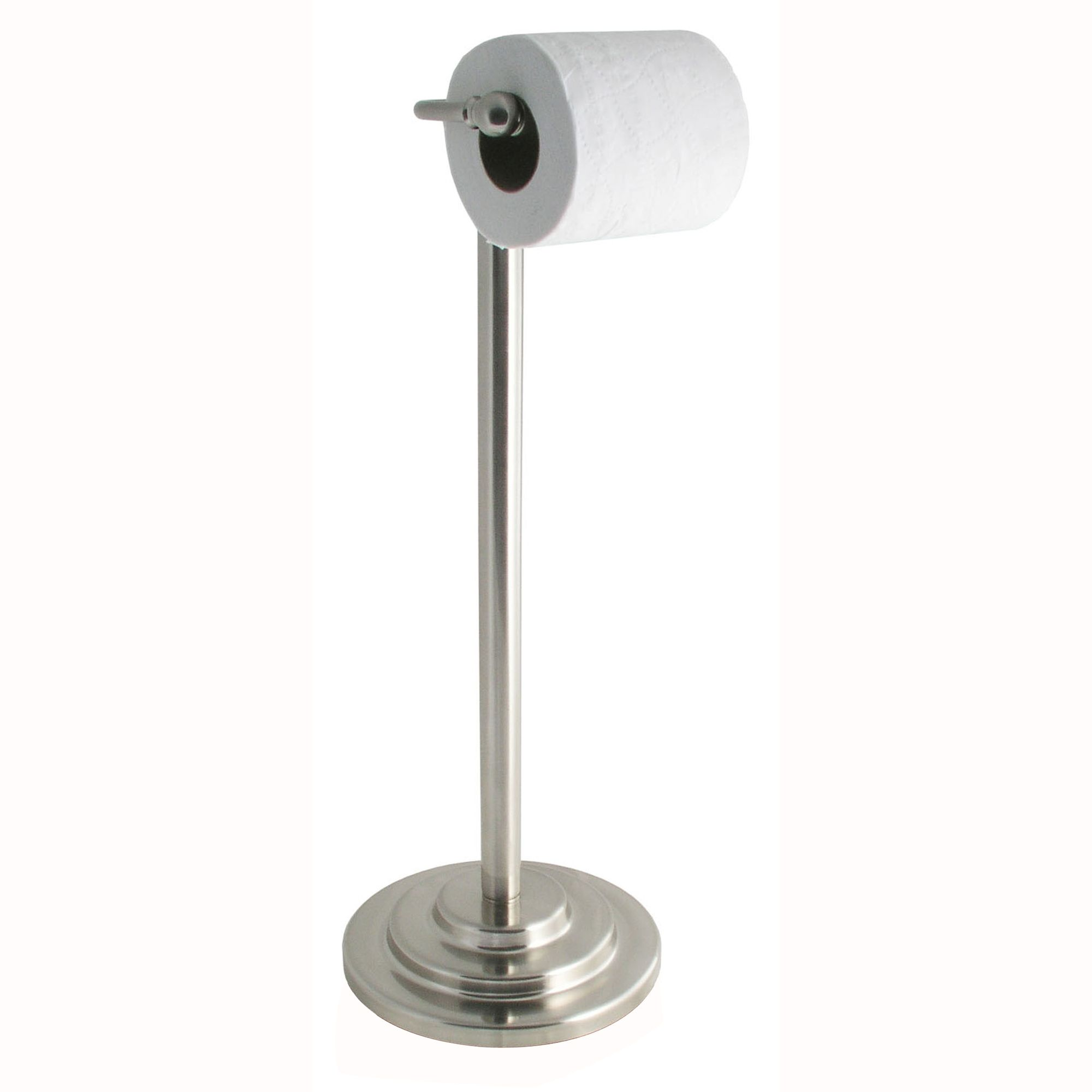 Stainless Steel Toilet Paper Stand Essential Home Ashton Series Pedestal Stainless Steel