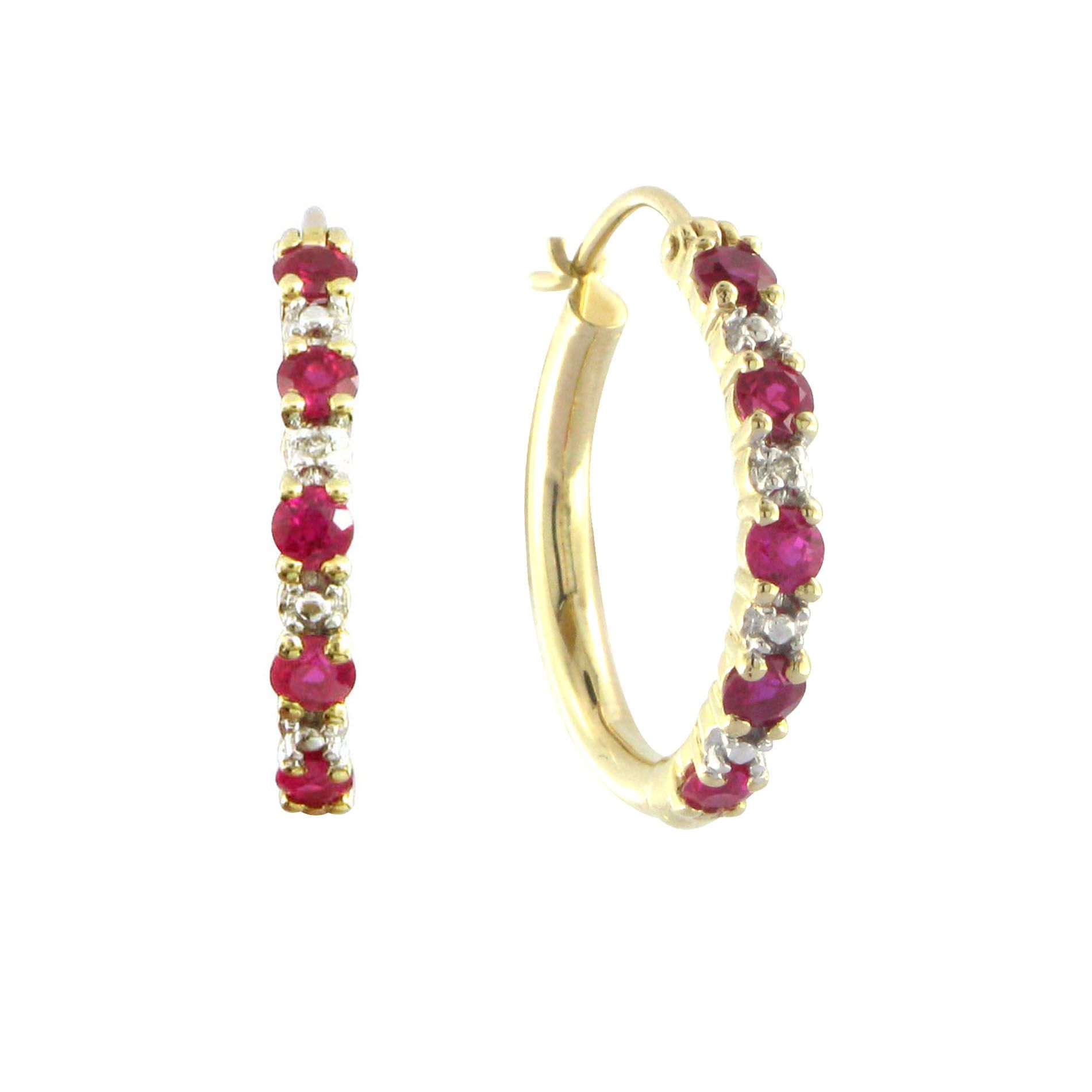 Lab Created Ruby and Diamond Accent Hoop Earring in 10K