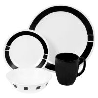 Corelle Livingware Urban Black 16 Piece Dinnerware Set ...