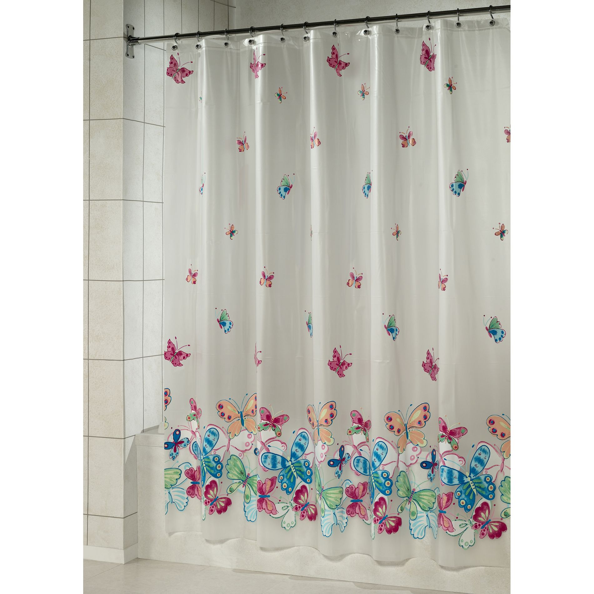 Essential home shower curtain butterfly border vinyl peva home bed bath bath bathroom accessories bath accessories