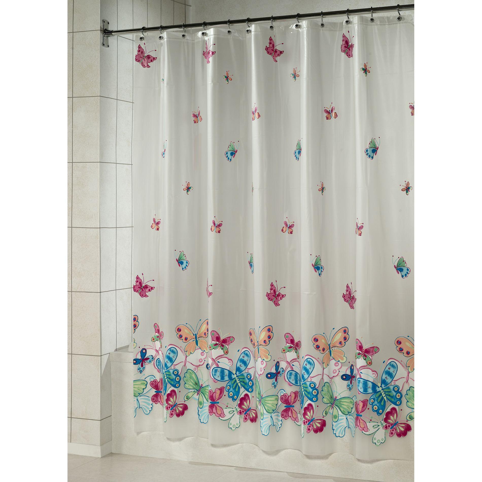 Essential home shower curtain butterfly border vinyl peva home bed bath bath bathroom accessories shower curtains bath accessories