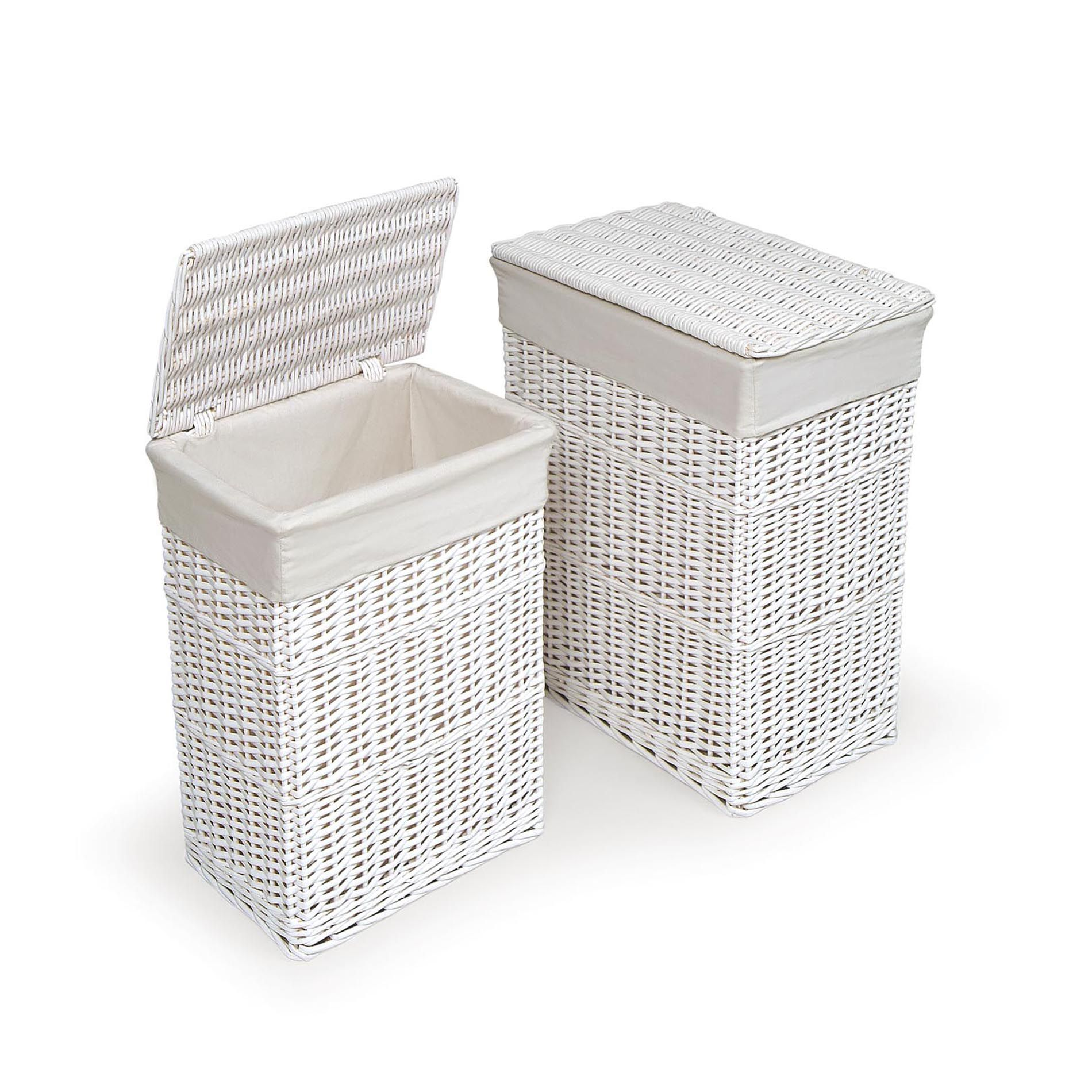 White Hamper With Liner Badger Basket White Two Hamper Set With Liners Baby