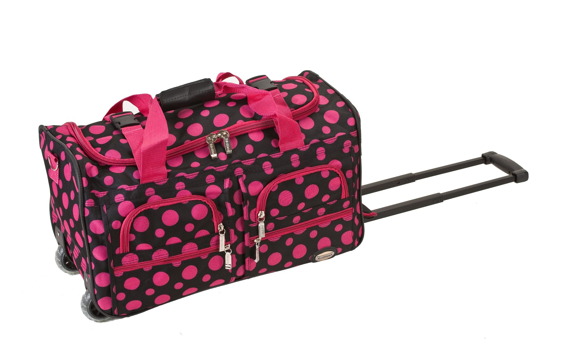 Travel Bag Kmart Rockland Fox Luggage 22 Quot Rolling Duffle Bag Black Pink Dot