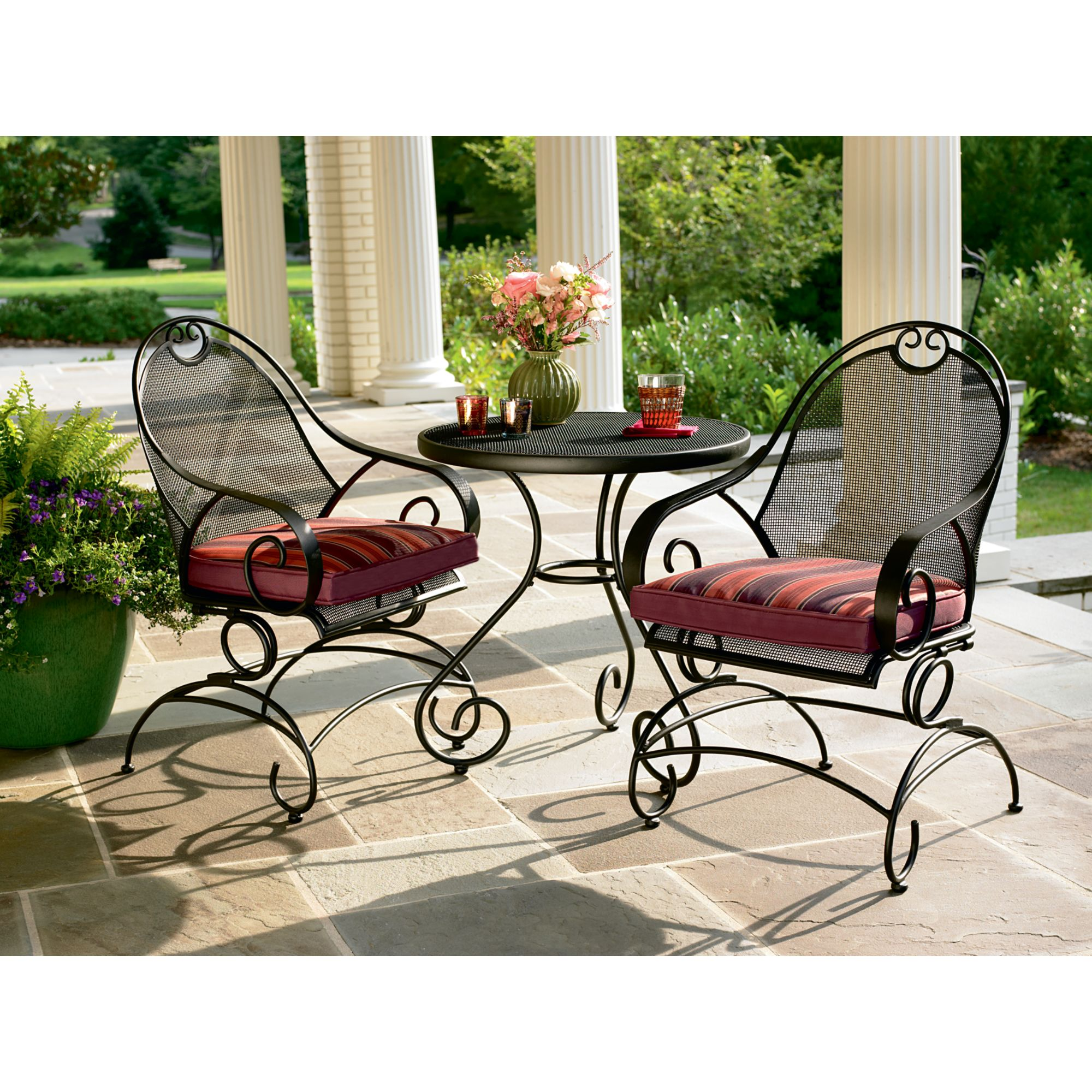 Wrought Iron 3 Piece Outdoor Setting Country Living 3 Piece Bistro Set Enjoy Your Outdoors