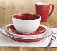 Sandra by Sandra Lee Red and White 16pc Dinnerware
