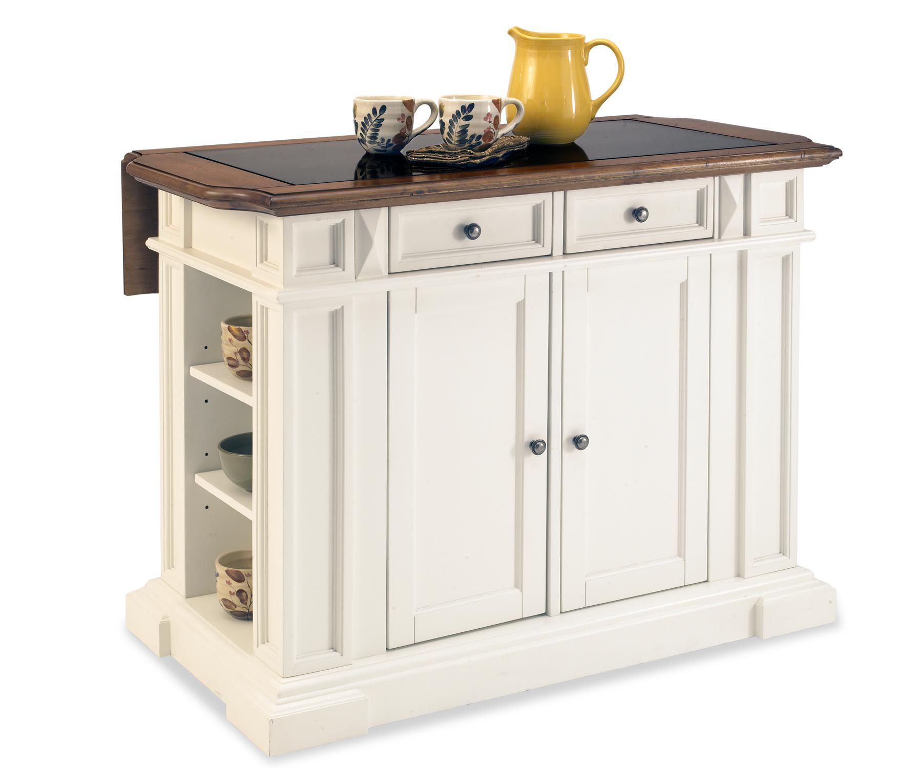 Nantucket Distressed White Finish Kitchen Island By Home Styles Home Styles Nantucket Kitchen Island - Home - Furniture