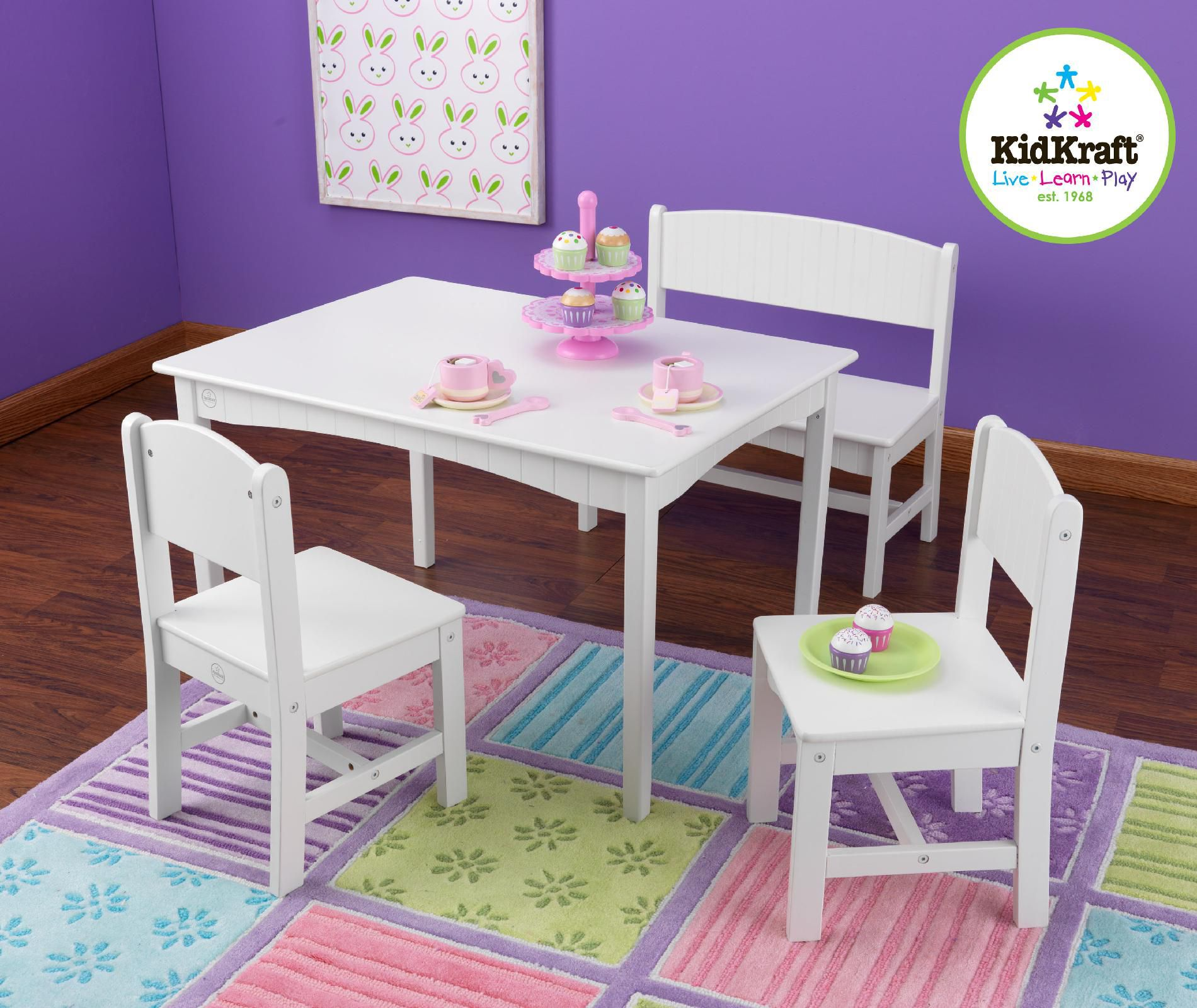 Kidkraft Nantucket Table With Bench 2 Chairs White
