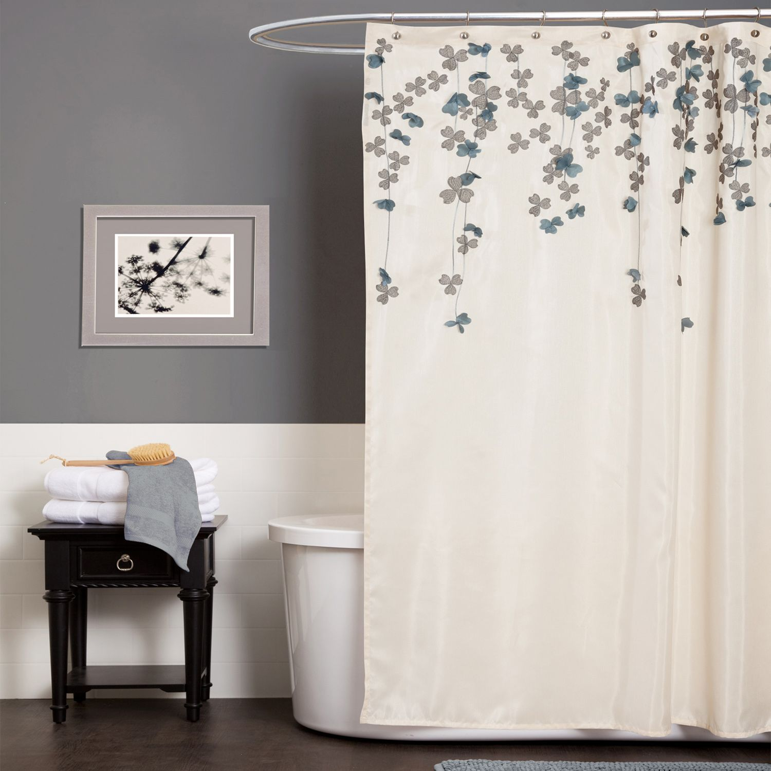 Dark Blue And Grey Curtains Lush Decor Flower Drop Ivory Blue Shower Curtain Home Bed