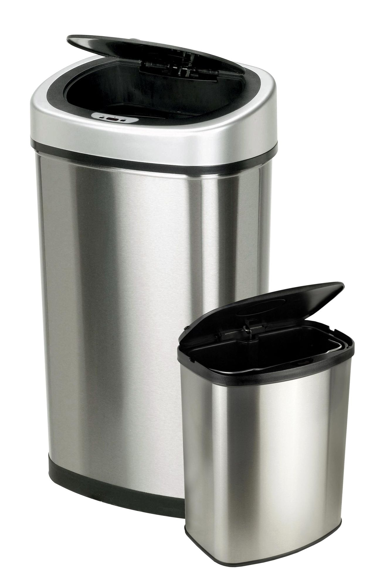 Trash Can With Lid Kitchen Itouchless Itouchless 16 Gallon Dual Compartment Stainless