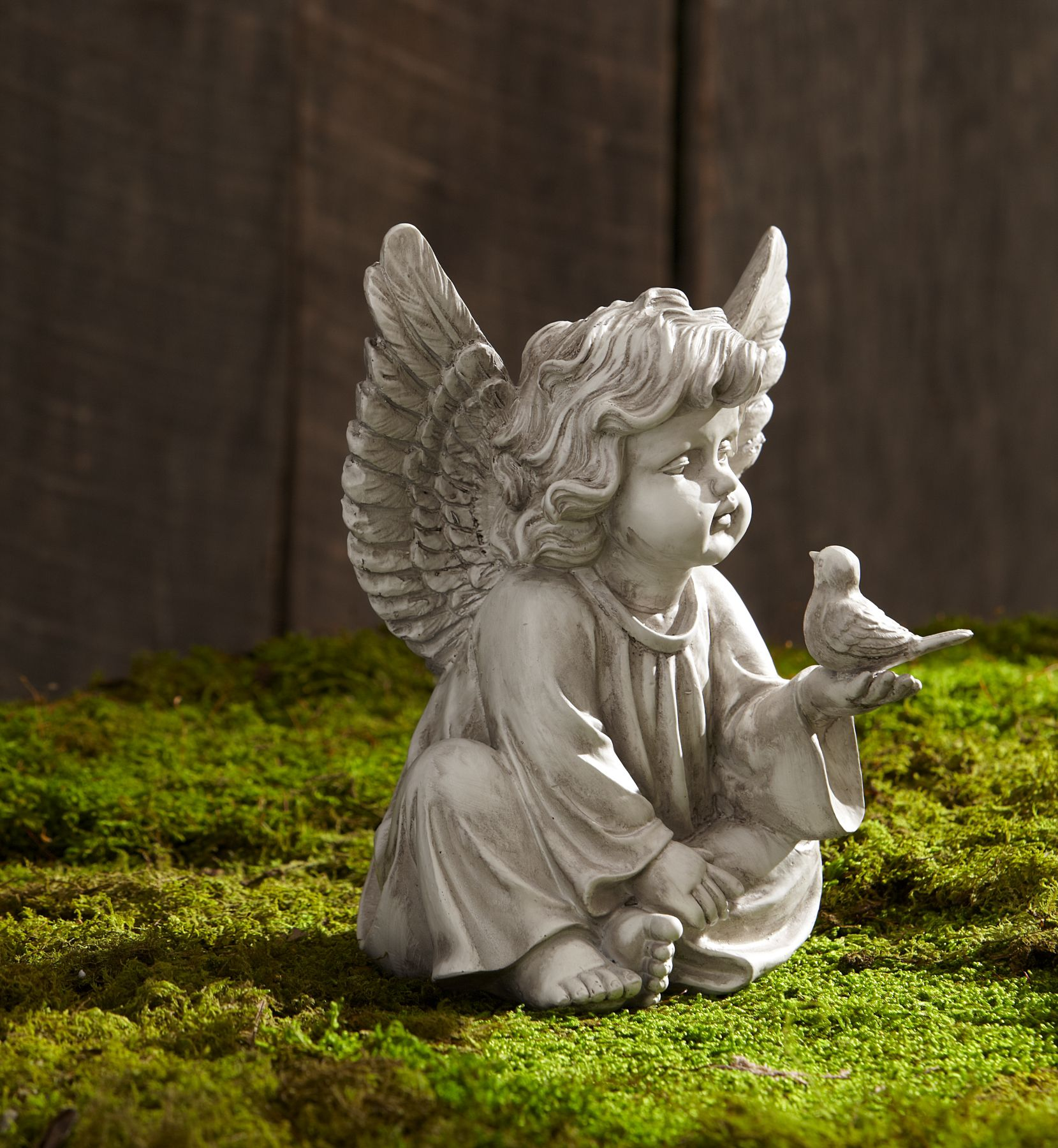 Garden Angel Cherub With Bird Sign Statuary Garden Rock Yard Ornament