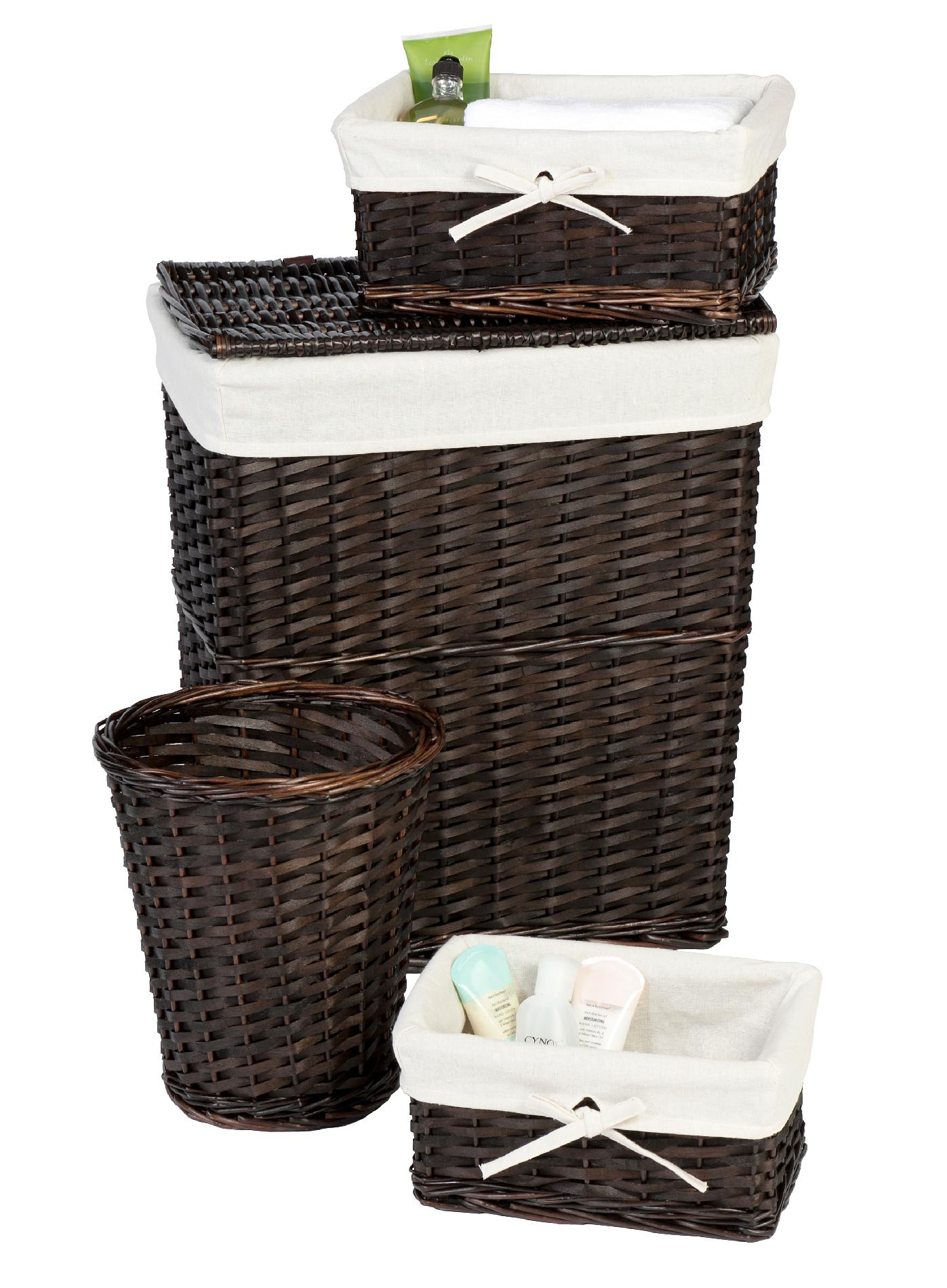 Wicker Laundry Baskets Lancaster Dark Brown Espresso 4 Pc Wicker Hamper Set