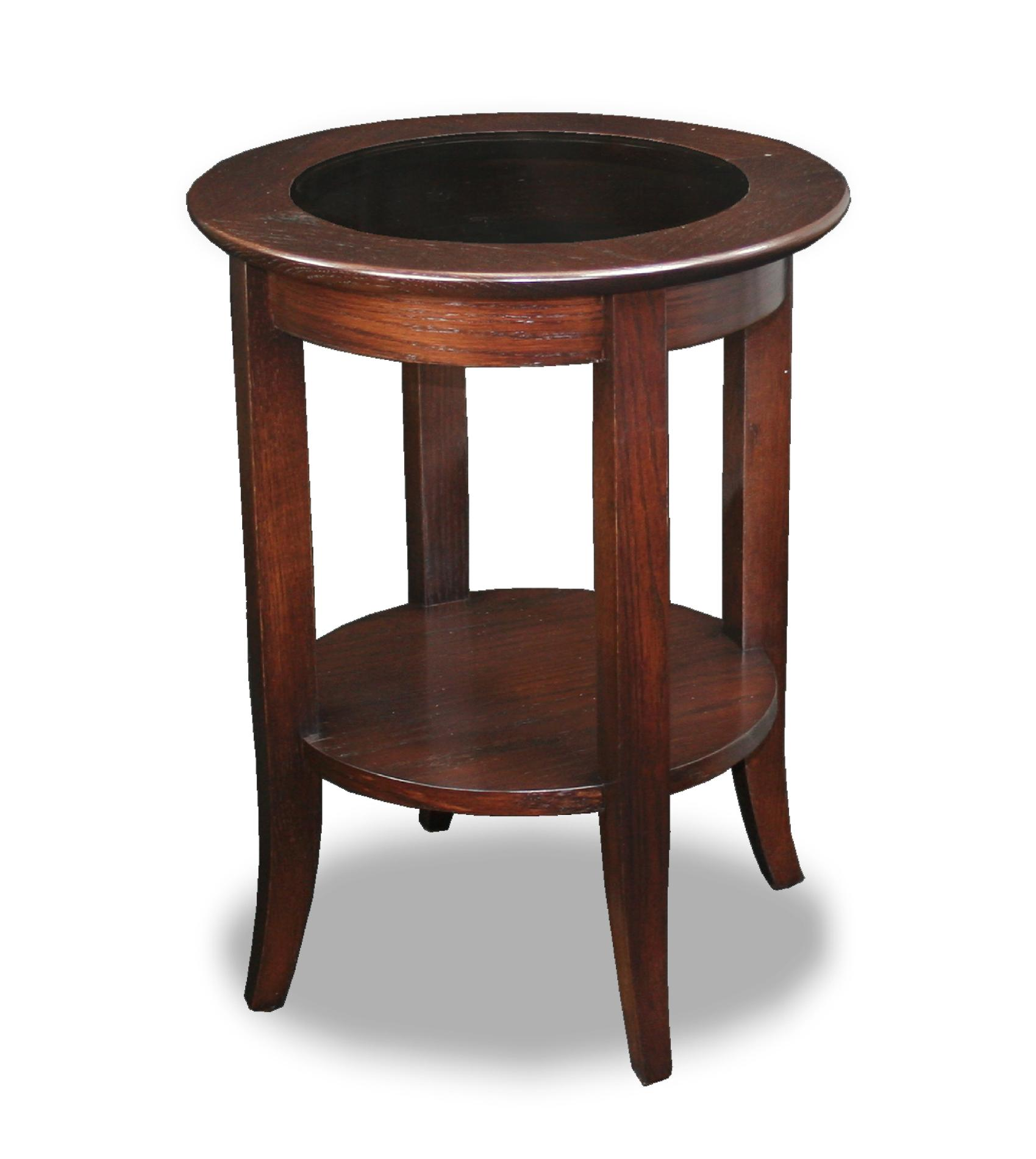 Round Glass Top End Tables Leick Solid Wood Round Glass Top End Table Chocolate Oak