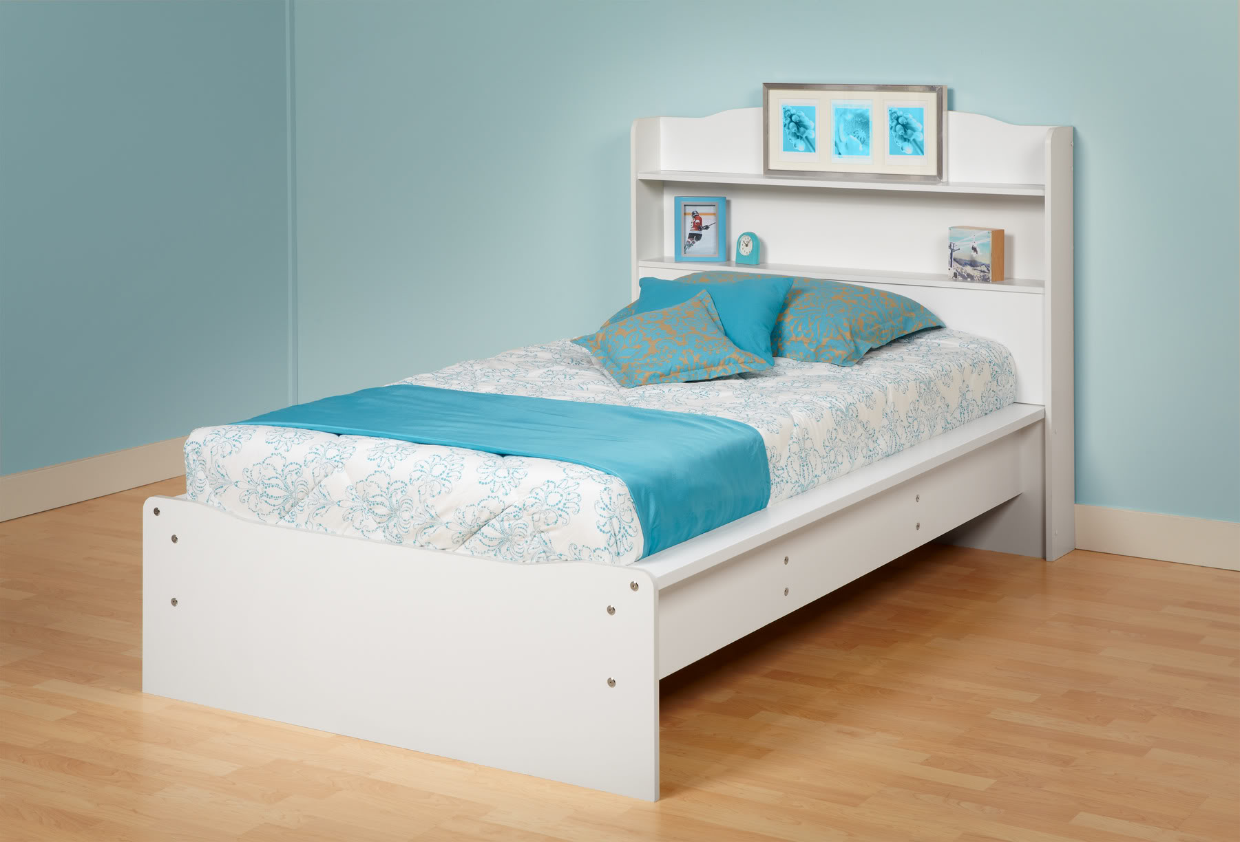 Prepac White Aspen Twin Platform Bed with Integrated