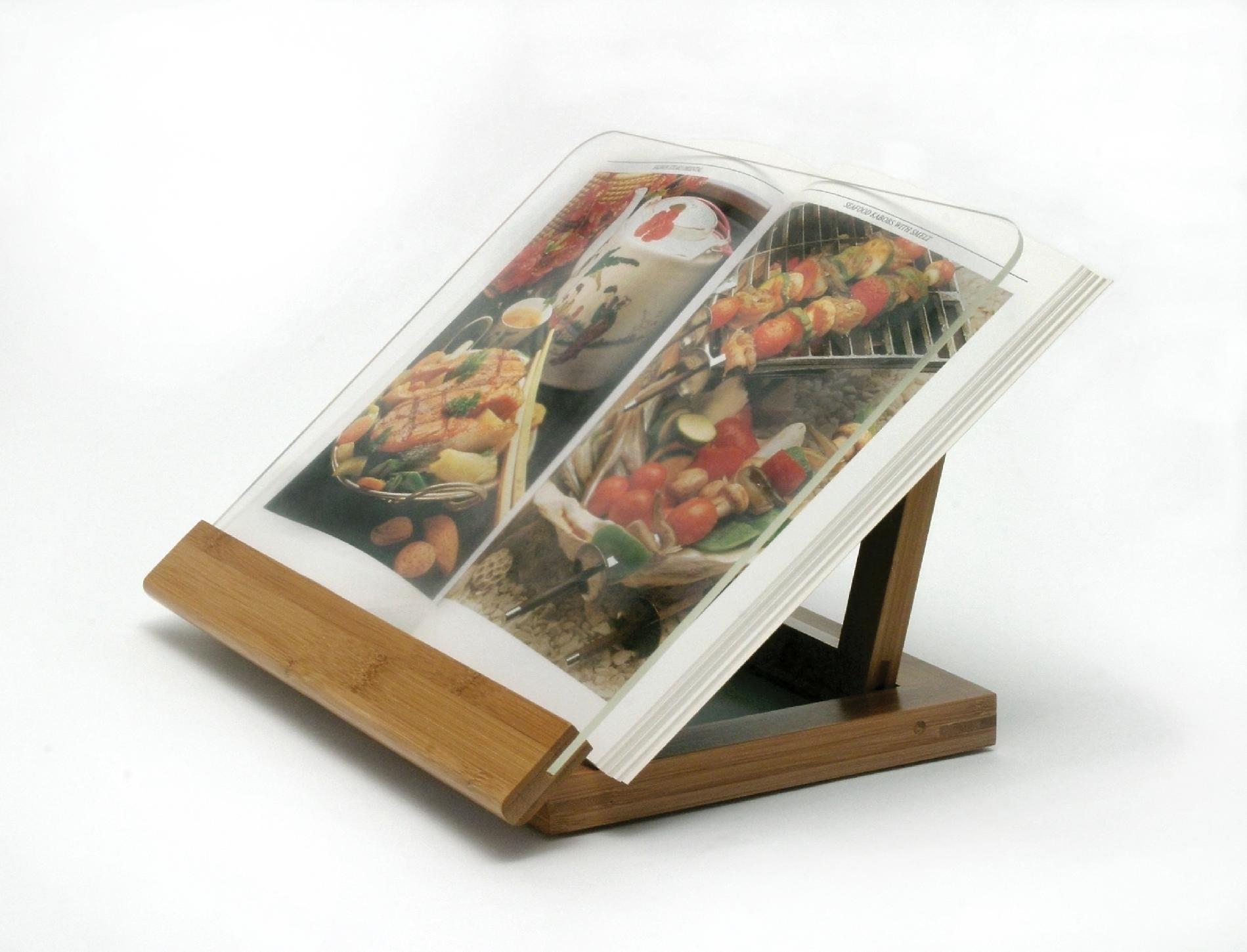 Book Holding Stand Lipper International Bamboo Acrylic Cook Book Holder