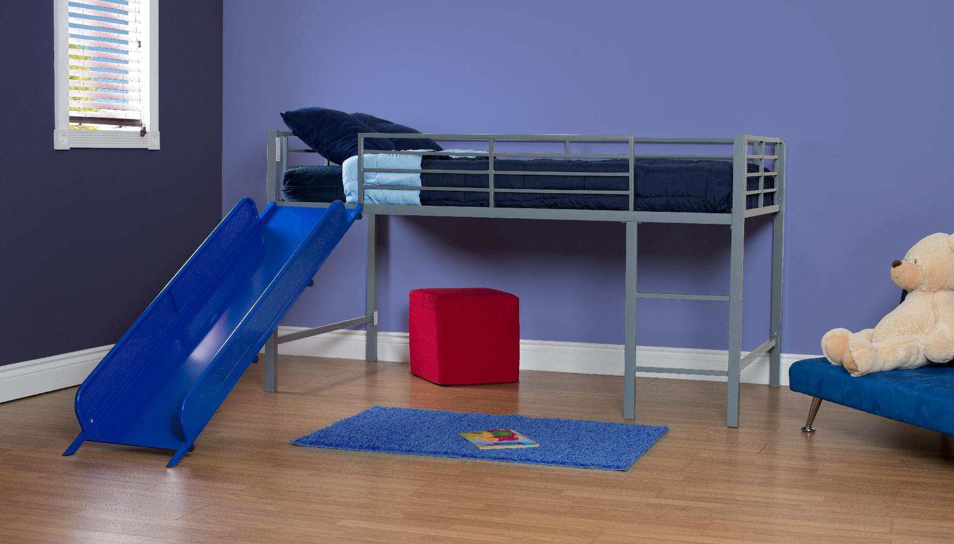 Kids Bed With Slide Dorel Home Furnishings Fantasy Loft Bed W Blue Slide