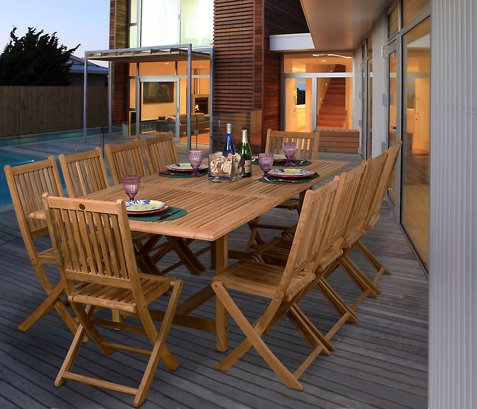 Electronics Store Adelaide Amazonia Adelaide 11 Pc Teak Wood Rectangular Patio Dining Set