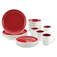 Rachael Ray Rise Stoneware 16-Piece Dinnerware Set, Red