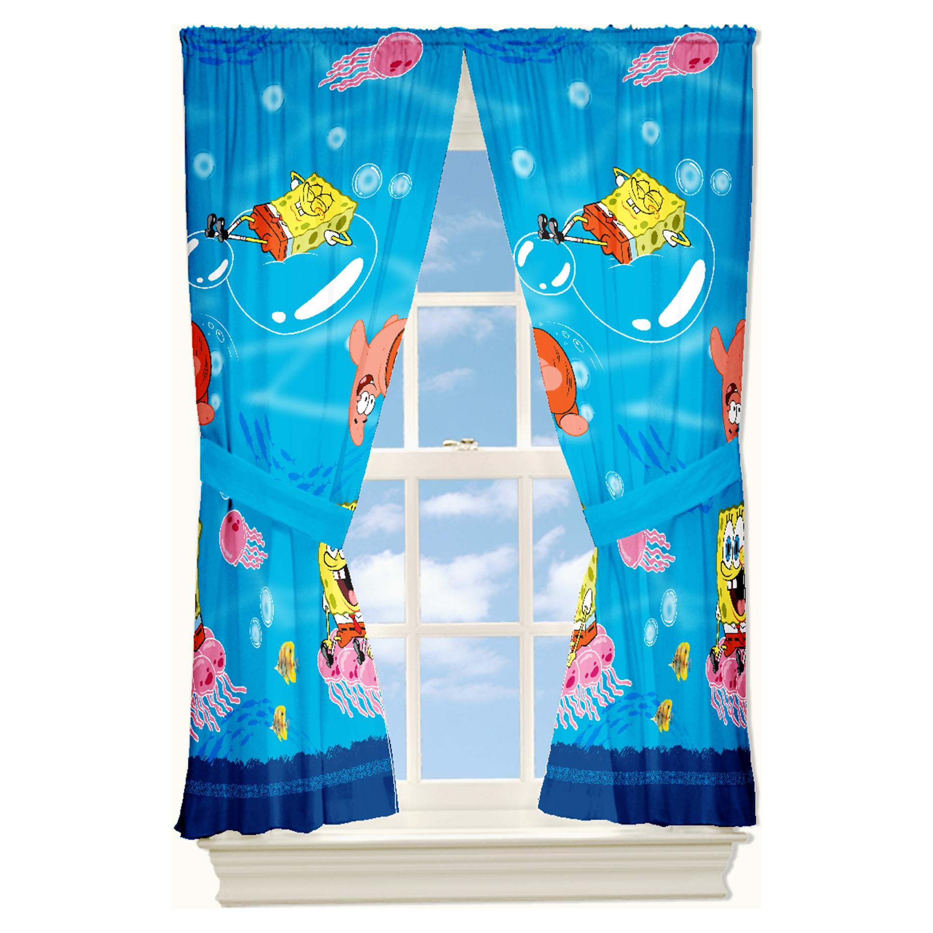 China Blue Curtains Spongebob Squarepants Bedroom Curtains