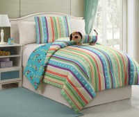 Furry Friends 3-Piece Striped Girl's Puppy Size Bedding ...