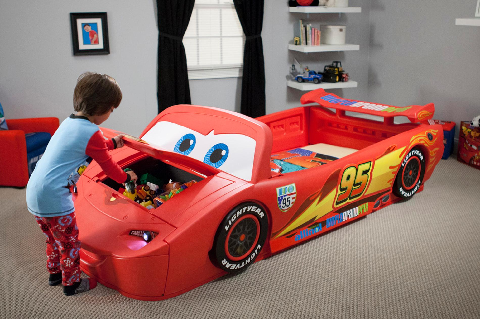 Lit Simple Flash Mcqueen Delta Children Disney Cars Convertible Toddler To Twin Bed