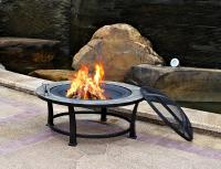 "Garden Oasis 40"" Round Slate Top Fire Pit Table"