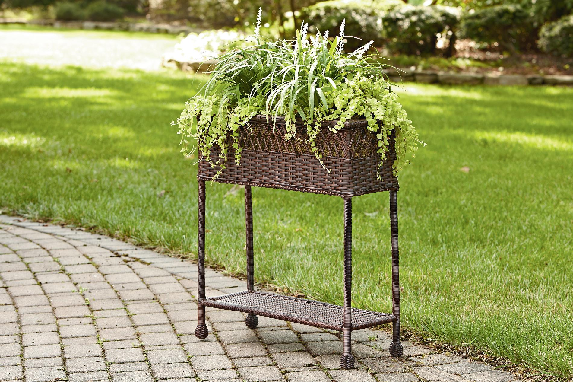 Elevated Plant Stands Ty Pennington Style Parkside Wicker Rectangle Plant Stand