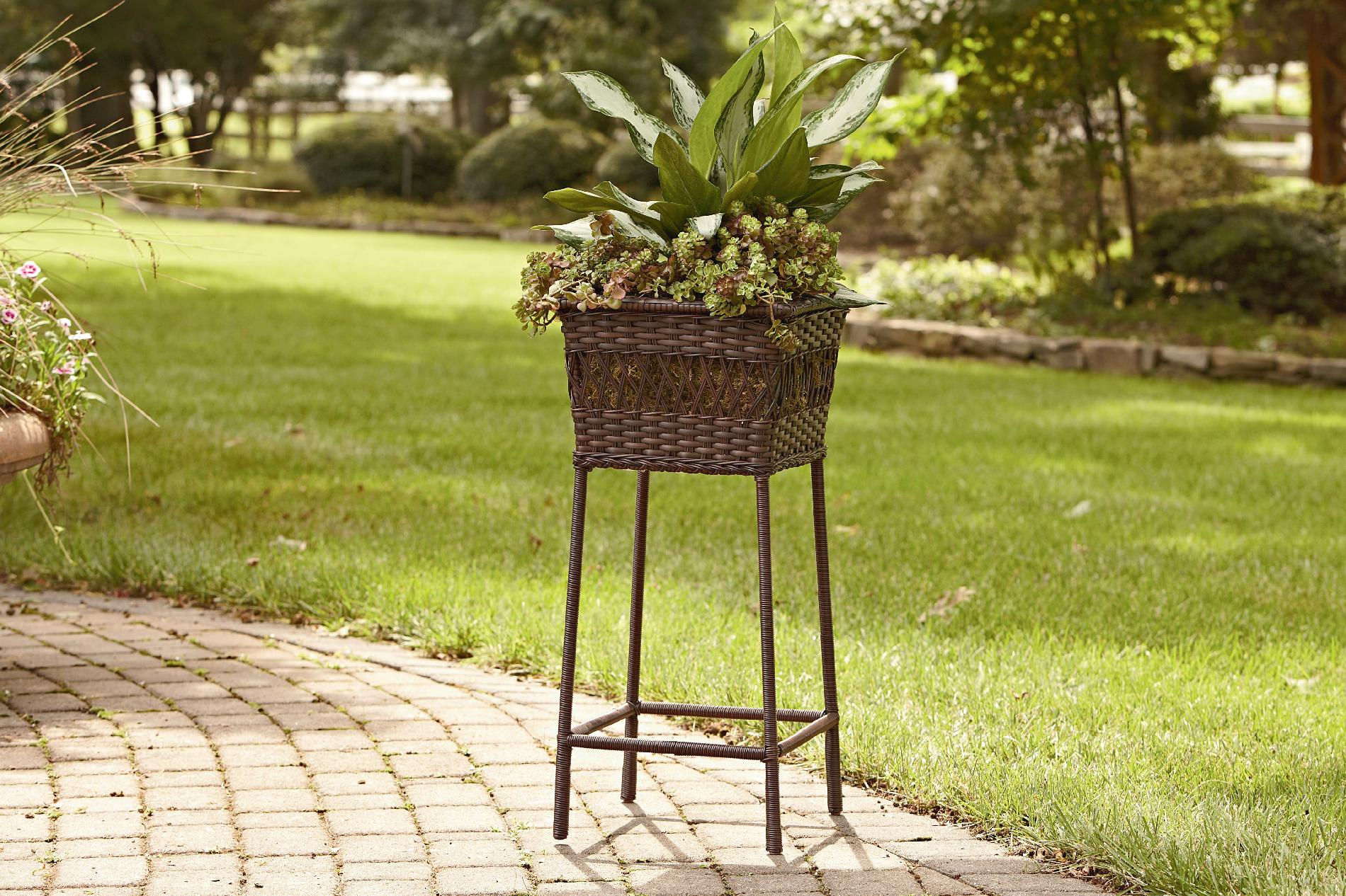 Big Plant Stand Grand Harbor Wicker Square Plant Stand Outdoor Living