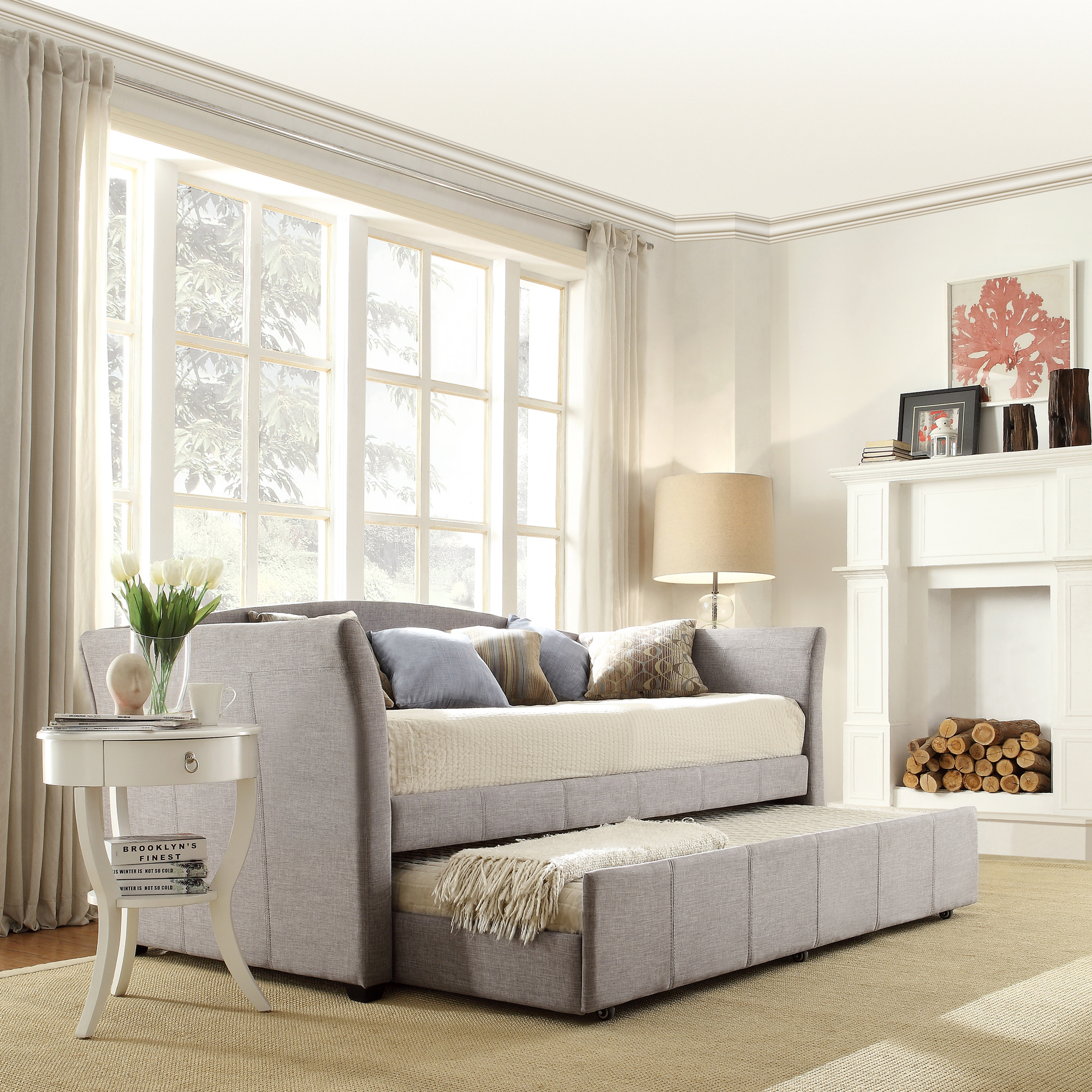 Living Room Queen Creek Oxford Creek Blake Gray Linen Day Bed With Trundle Bed