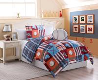 Boys Twin Size 3 pc REVERSIBLE BASEBALL Comforter Set with ...