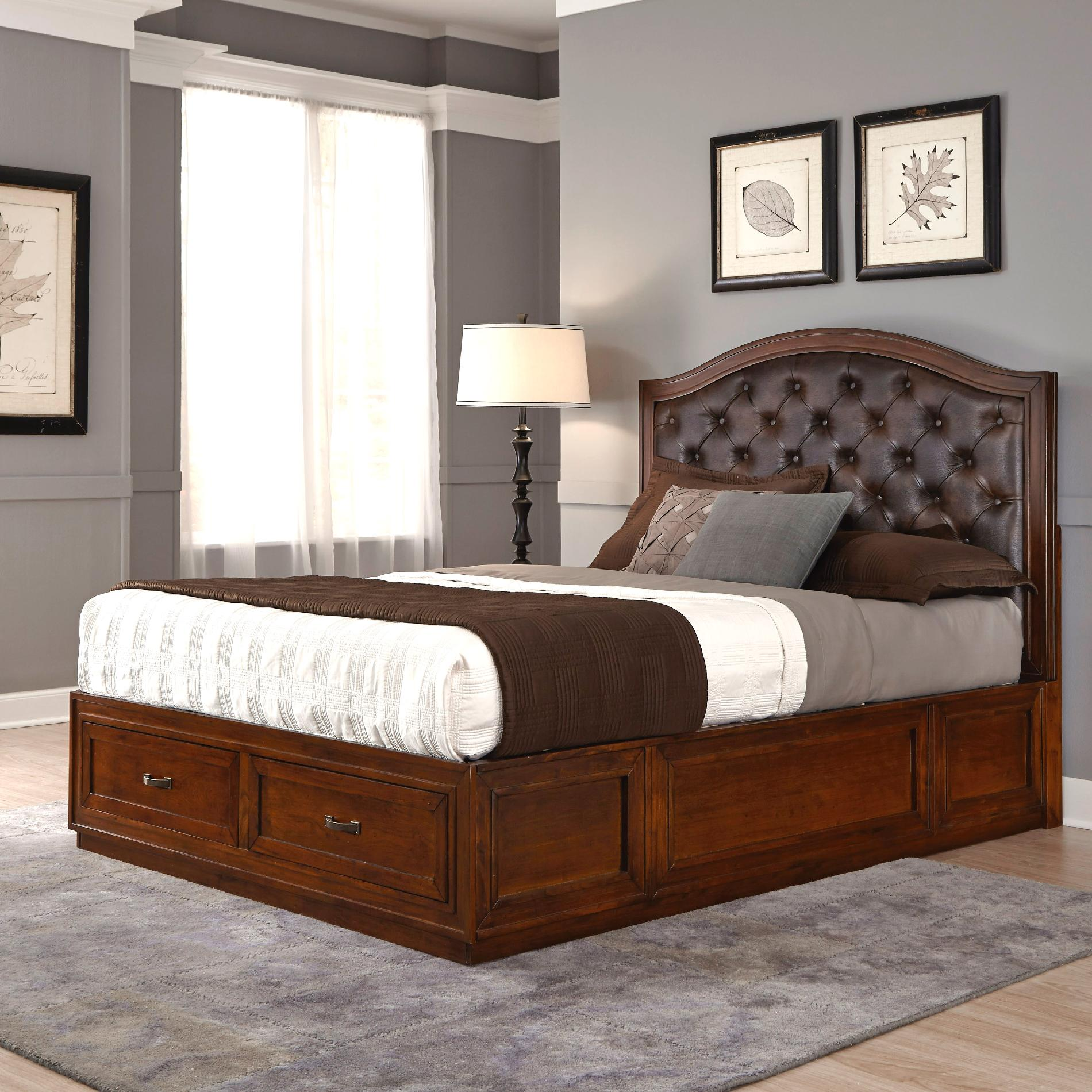 Home Styles Duet Queen Tufted Diamond Camelback Bed Brown
