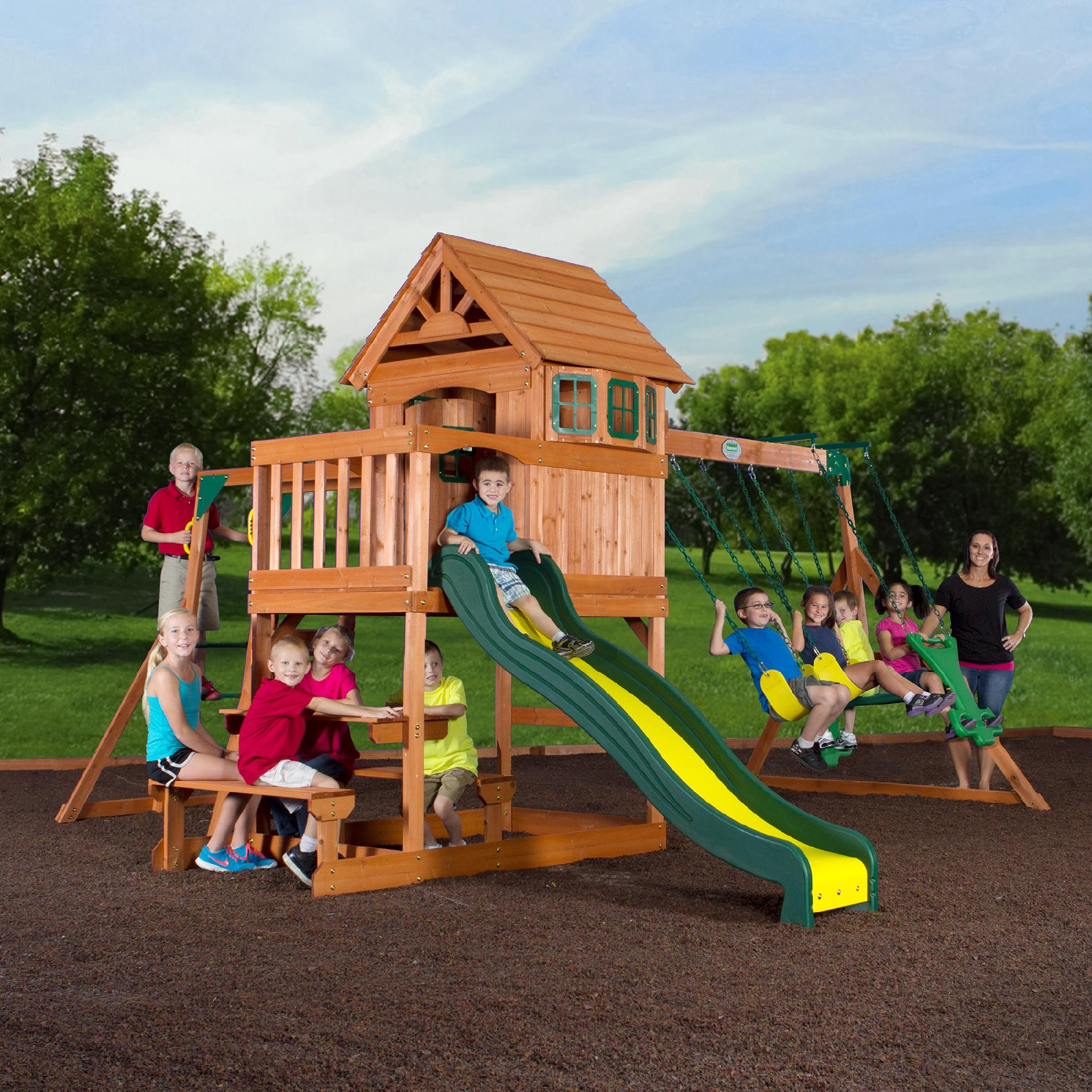 Buitenspeelgoed Schoolplein Backyard Discovery Springboro Wood Swing Set Toys