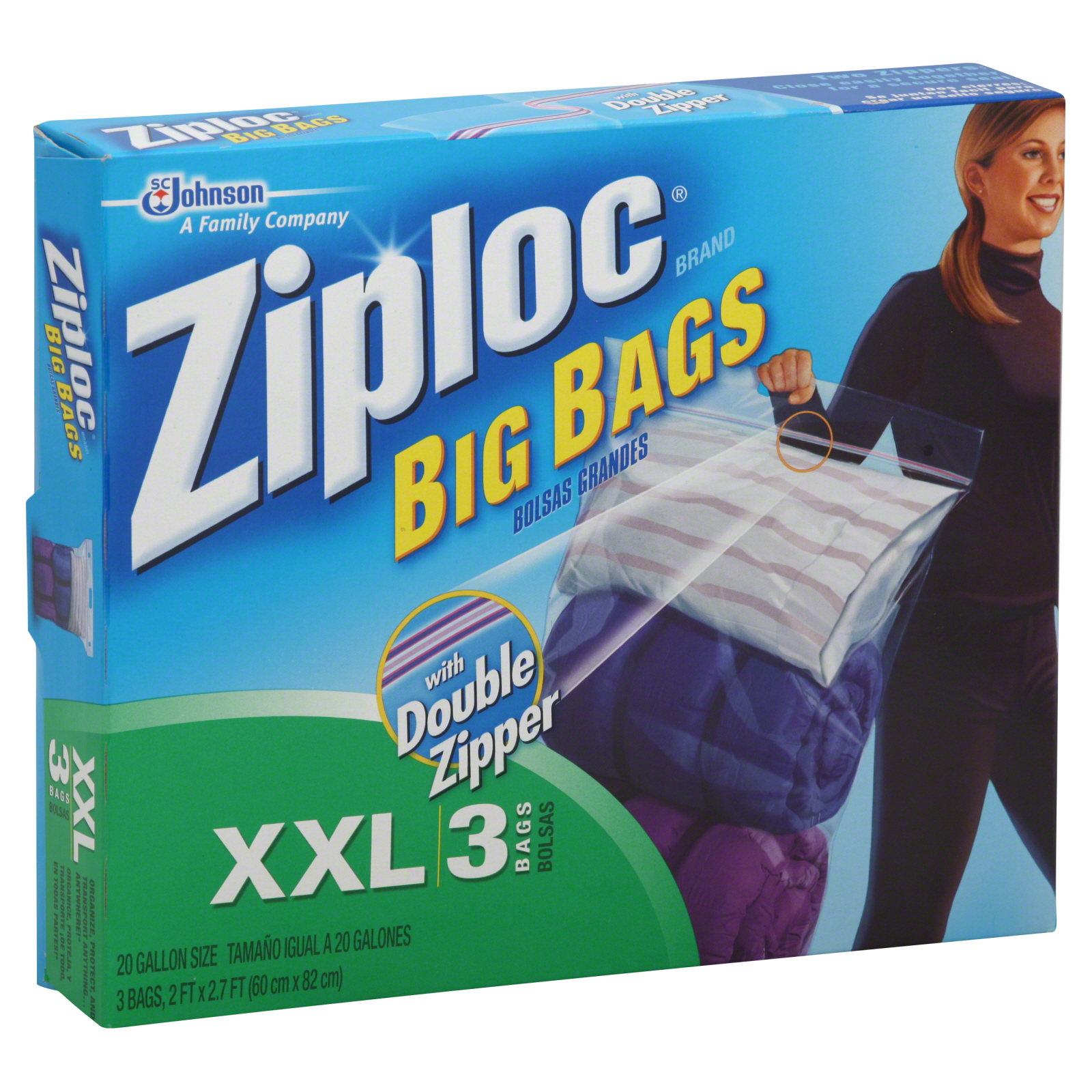 Big Xxl Ziploc Big Bags Xxl Heavy Duty 20 Gallon Size 3 Bags