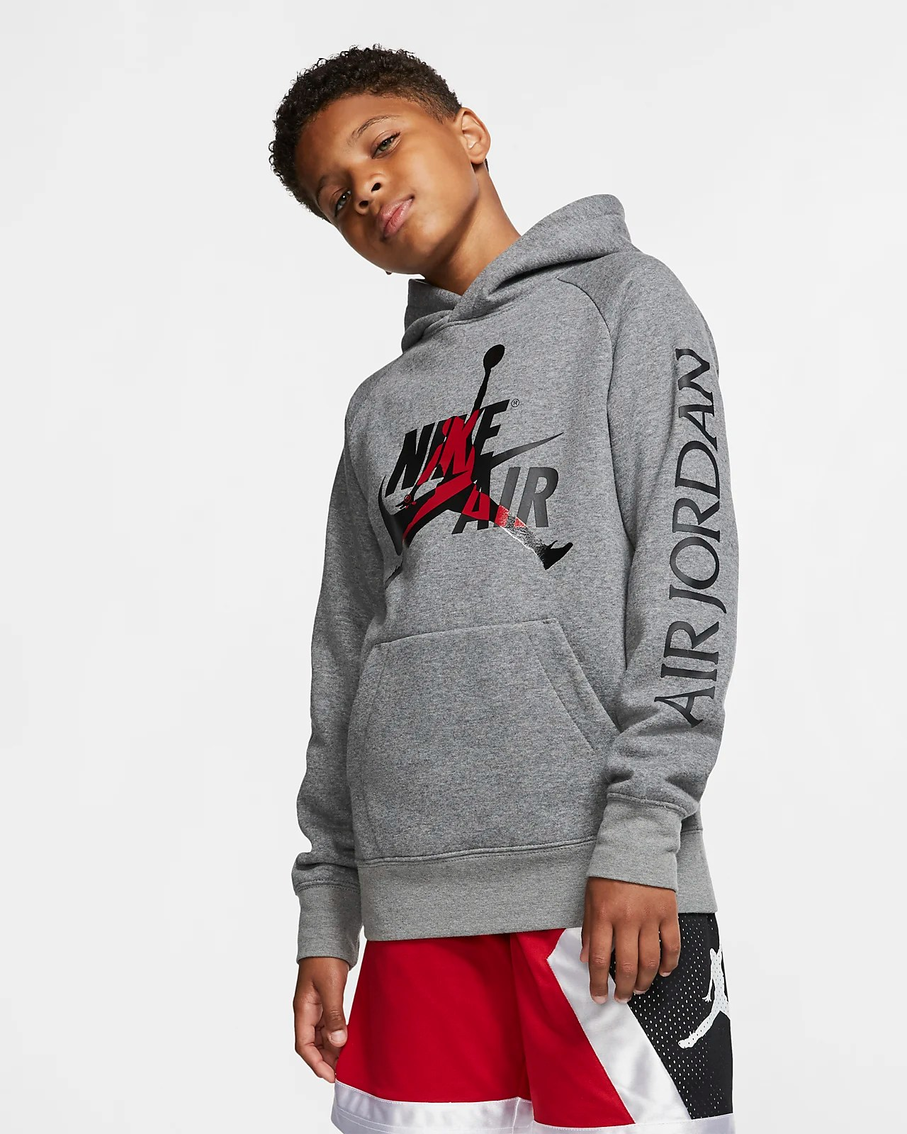 Nike Hoodie Carbon Heather Jordan Jumpman Older Kids Boys Fleece Pullover Hoodie