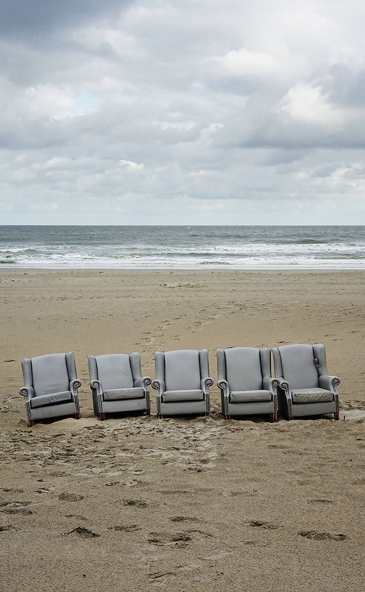 Row Of Chairs On The Beach By Marcel Beach Chair