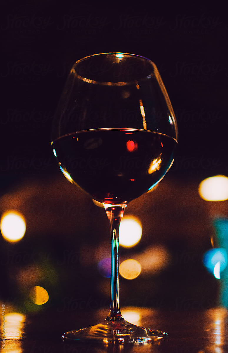 Red Wine Glasses For Sale Stock Photo Glass Of Red Wine On The Table At Night