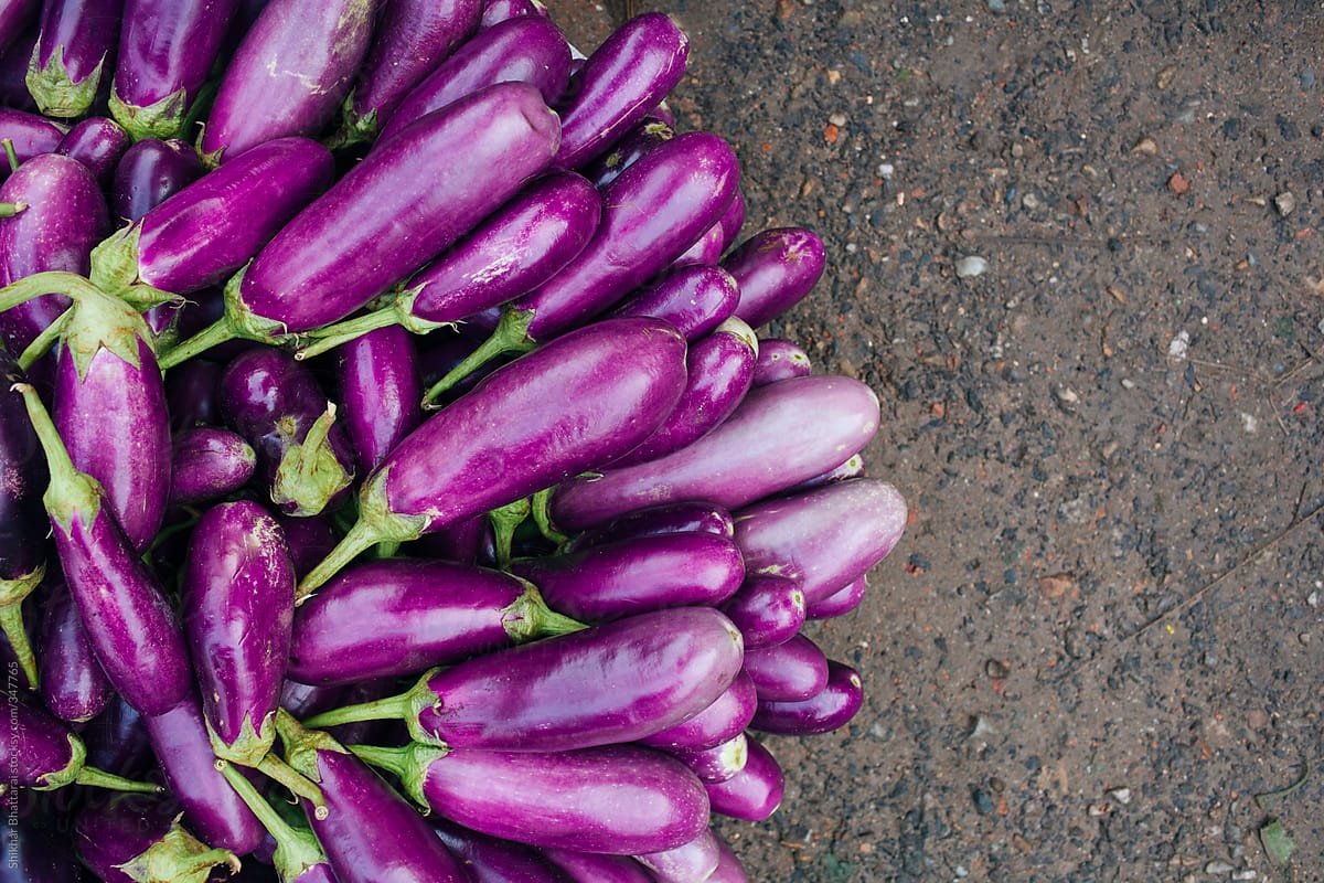 Asian Plants For Sale Stock Photo Fresh Organic Egg Plants For Sale On An Asian Market