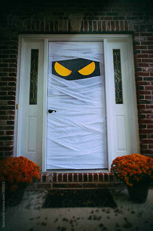Stock photos spooky halloween door dressed as mummy by sean locke