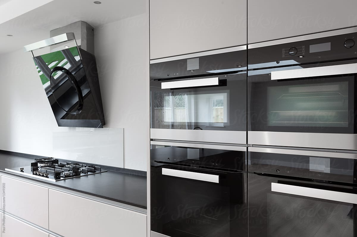 Modern Kitchen Appliances Stock Photo Modern Kitchen Units With Integrated Appliances