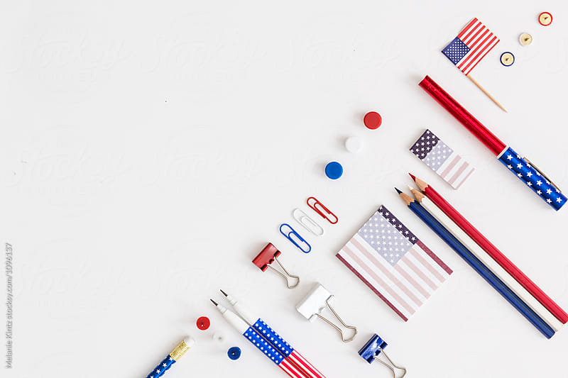 Office tools in red white and blue, stars and stripes Stocksy United